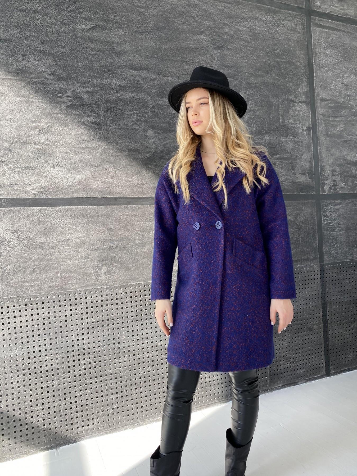 Сенсей пальто из шерсти букле 10780 АРТ. 47237 Цвет: Т.синий марсала 43 - фото 5, интернет магазин tm-modus.ru