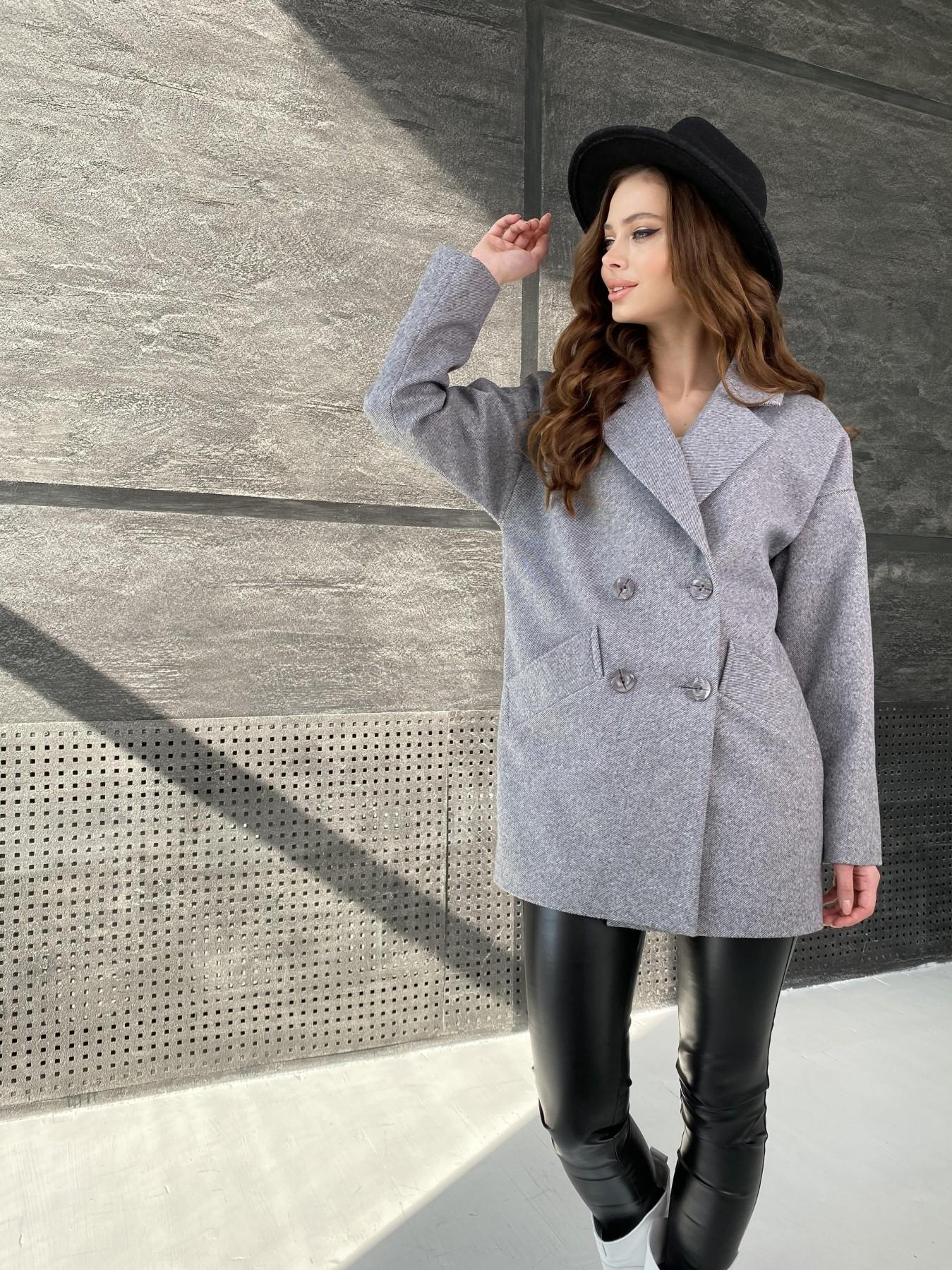 Бонд Диагональ пальто из пальтовой ткани  10757 АРТ. 47191 Цвет: Серый меланж 4 - фото 2, интернет магазин tm-modus.ru