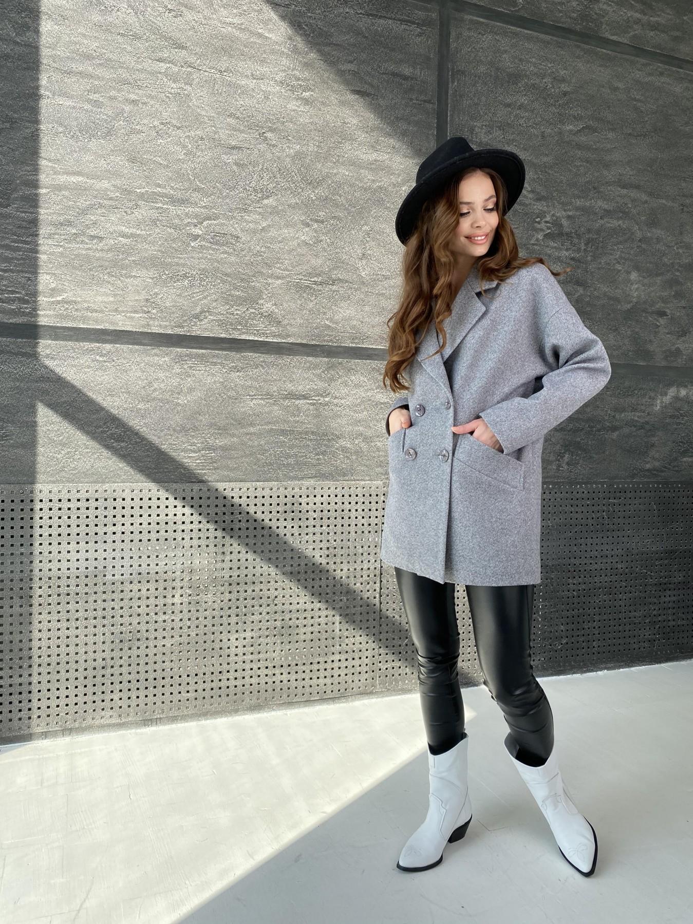 Бонд Диагональ пальто из пальтовой ткани  10757 АРТ. 47191 Цвет: Серый меланж 4 - фото 3, интернет магазин tm-modus.ru