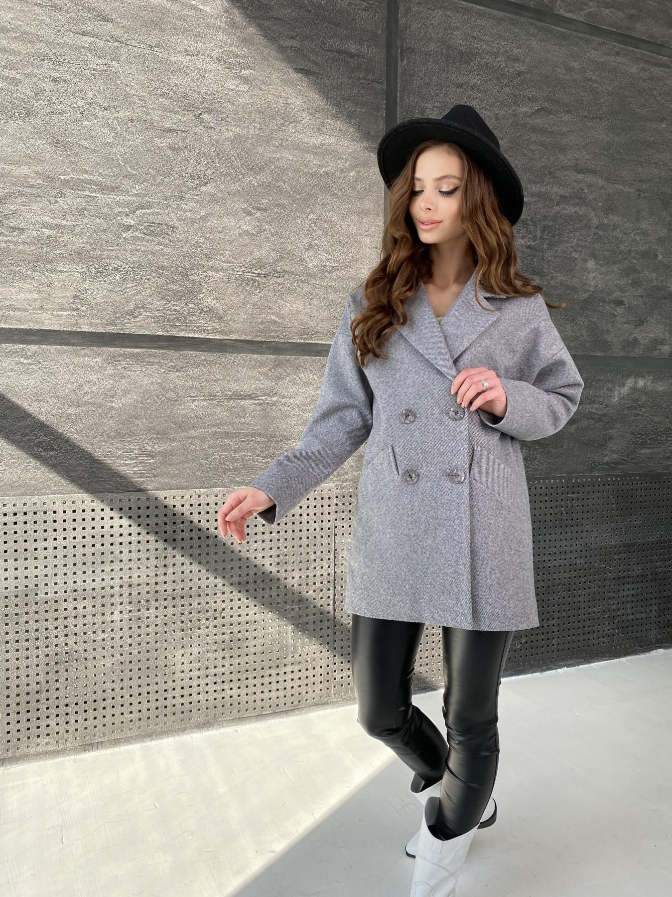 Бонд Диагональ пальто из пальтовой ткани  10757 АРТ. 47191 Цвет: Серый меланж 4 - фото 4, интернет магазин tm-modus.ru