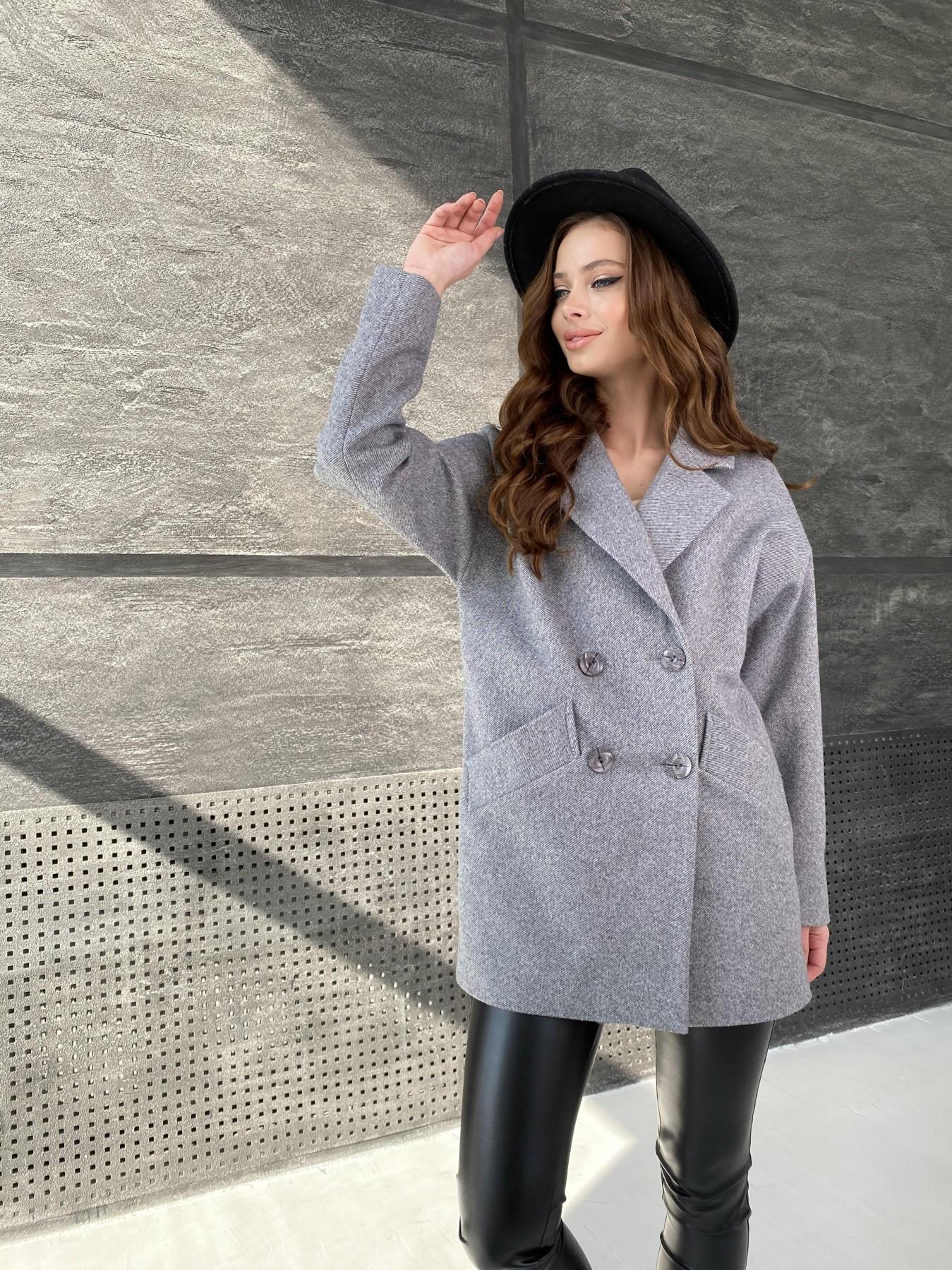Бонд Диагональ пальто из пальтовой ткани  10757 АРТ. 47191 Цвет: Серый меланж 4 - фото 5, интернет магазин tm-modus.ru