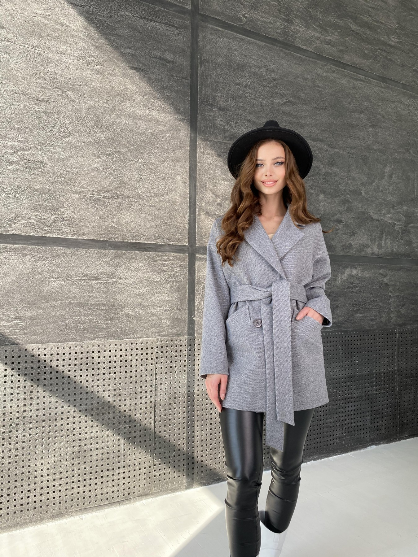Бонд Диагональ пальто из пальтовой ткани  10757 АРТ. 47191 Цвет: Серый меланж 4 - фото 6, интернет магазин tm-modus.ru