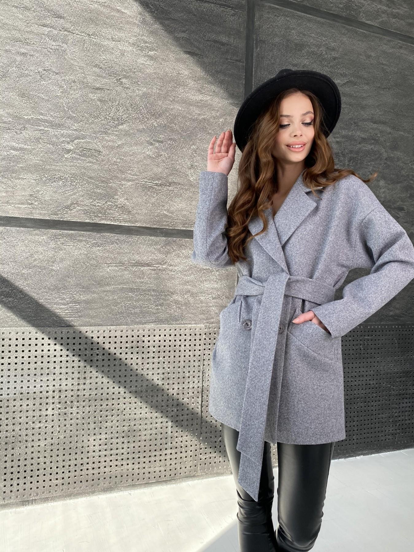 Бонд Диагональ пальто из пальтовой ткани  10757 АРТ. 47191 Цвет: Серый меланж 4 - фото 7, интернет магазин tm-modus.ru