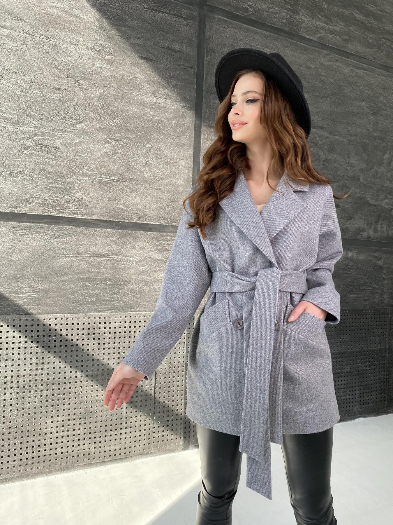Бонд Диагональ пальто из пальтовой ткани  10757 АРТ. 47191 Цвет: Серый меланж 4 - фото 8, интернет магазин tm-modus.ru