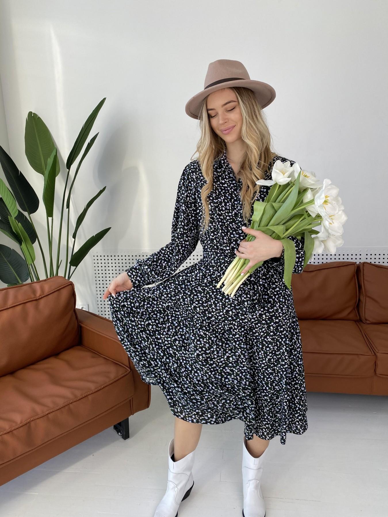 Лилия штапель принт платье 10879 АРТ. 47351 Цвет: Цветы мел черн/бел/гол - фото 1, интернет магазин tm-modus.ru