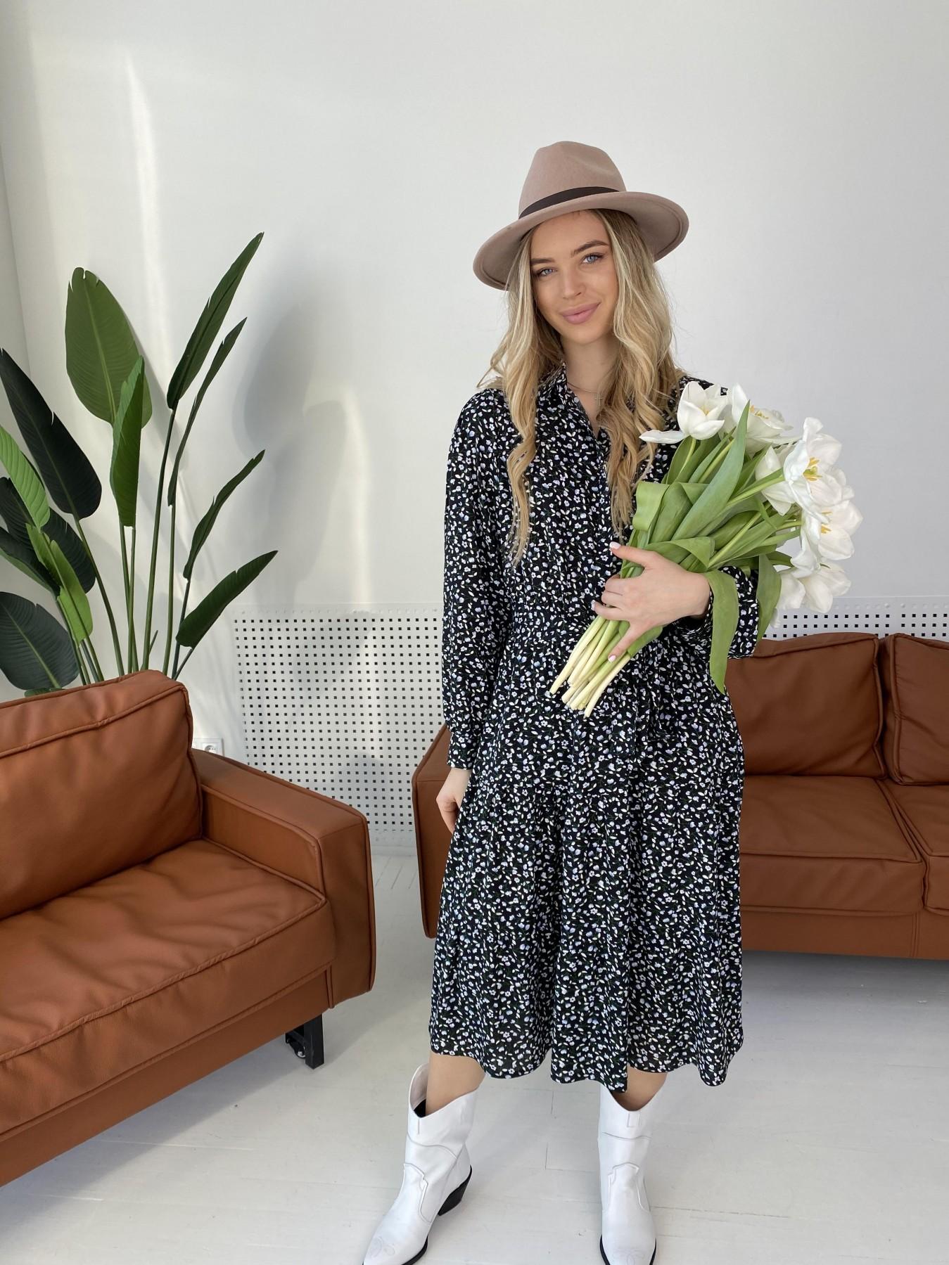 Лилия штапель принт платье 10879 АРТ. 47351 Цвет: Цветы мел черн/бел/гол - фото 2, интернет магазин tm-modus.ru