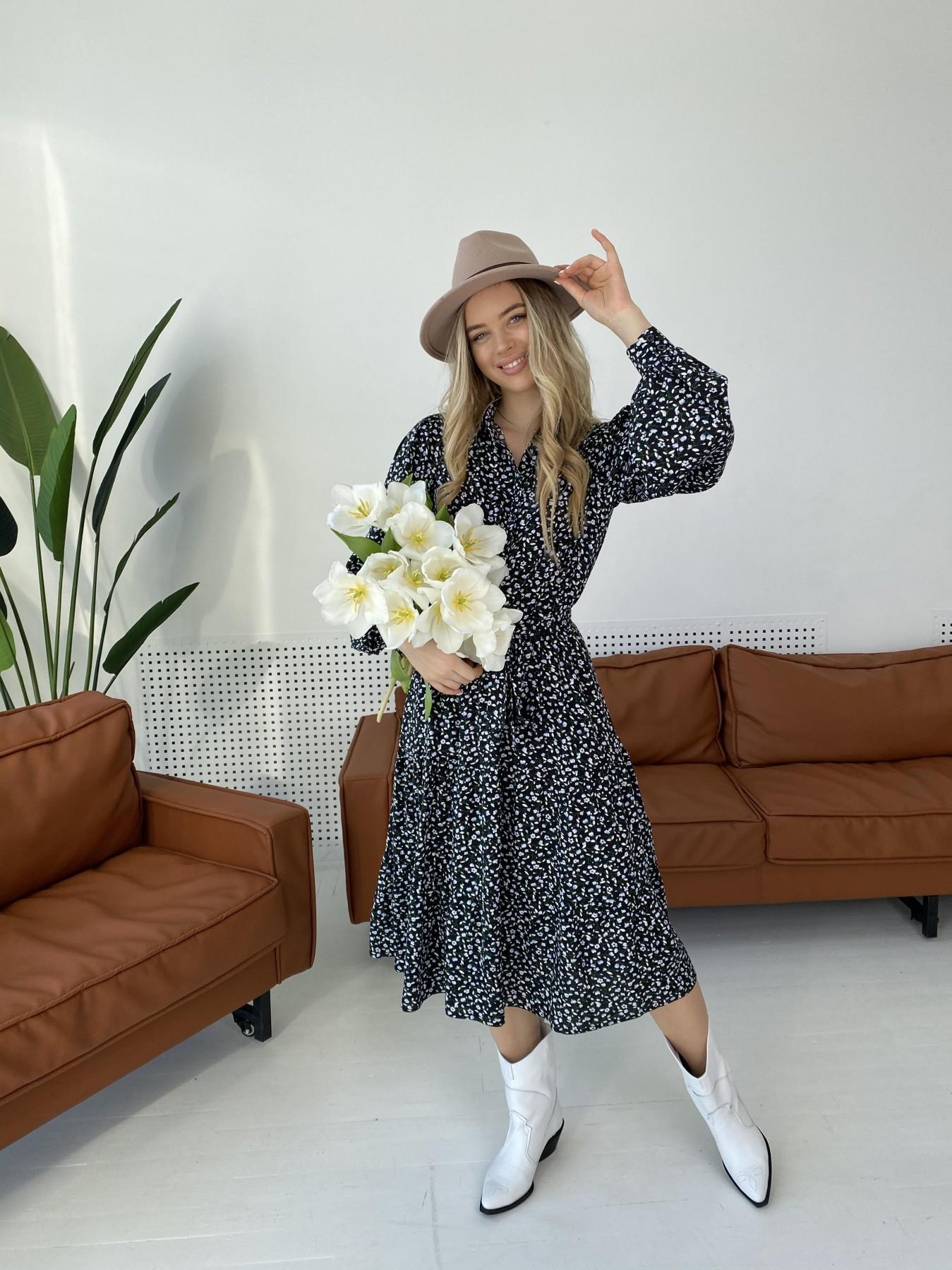 Лилия штапель принт платье 10879 АРТ. 47351 Цвет: Цветы мел черн/бел/гол - фото 3, интернет магазин tm-modus.ru