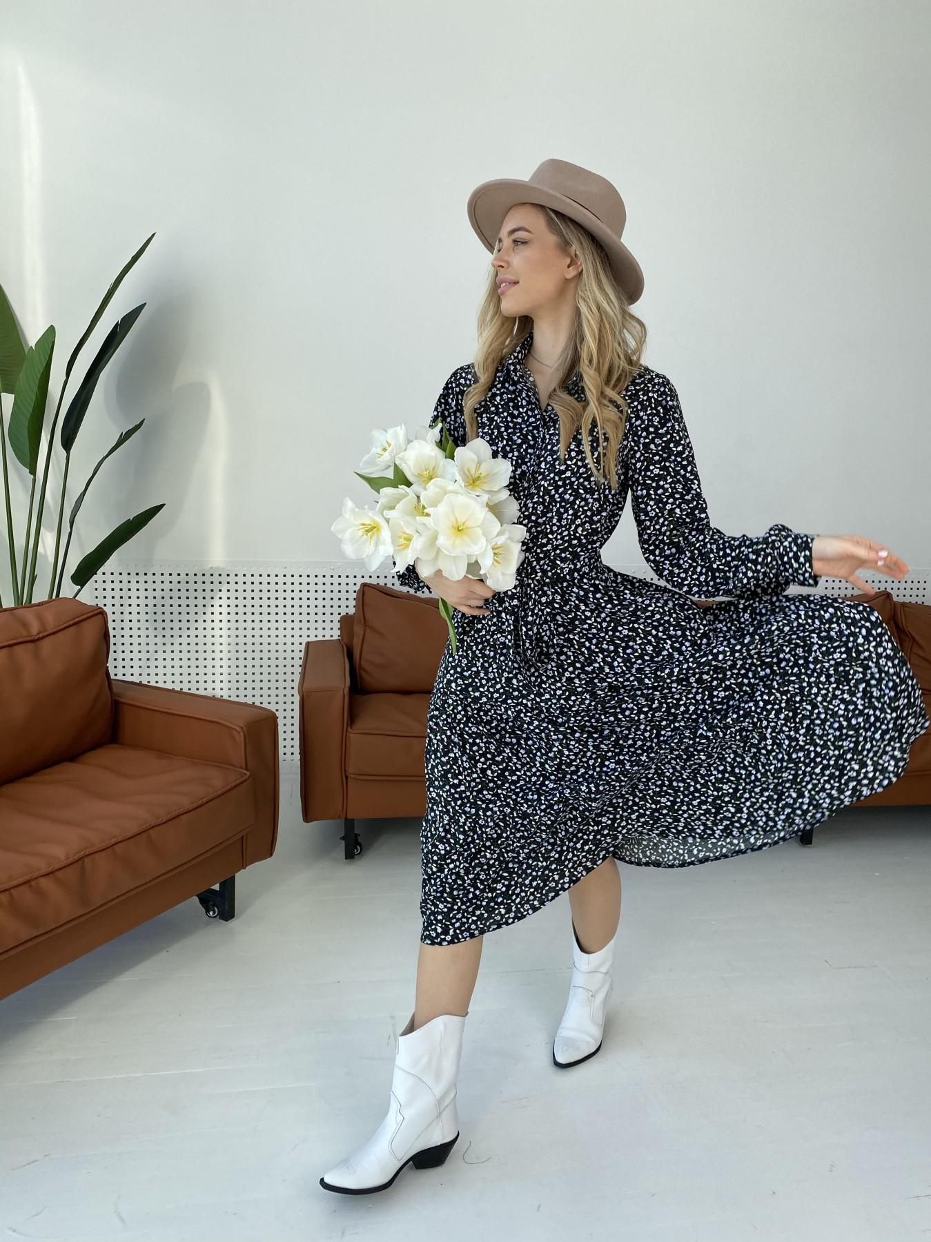 Лилия штапель принт платье 10879 АРТ. 47351 Цвет: Цветы мел черн/бел/гол - фото 4, интернет магазин tm-modus.ru