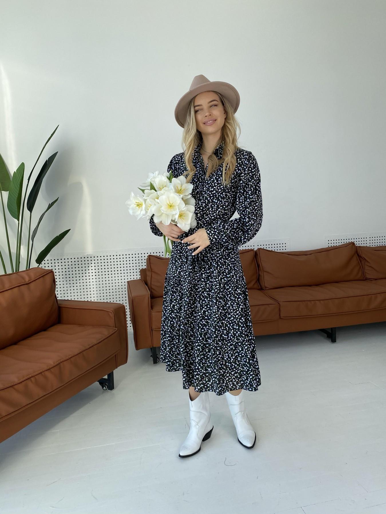 Лилия штапель принт платье 10879 АРТ. 47351 Цвет: Цветы мел черн/бел/гол - фото 5, интернет магазин tm-modus.ru