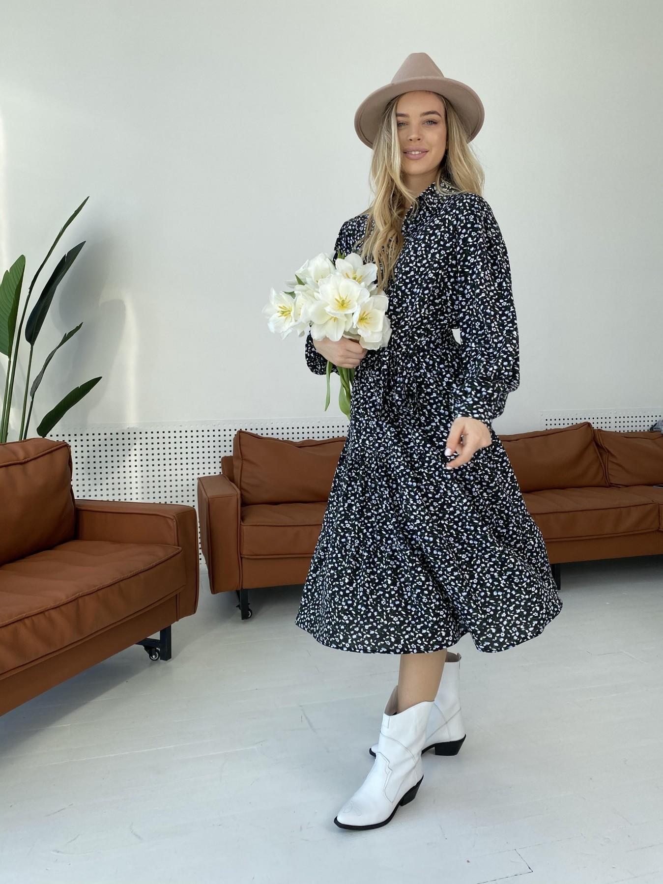 Лилия штапель принт платье 10879 АРТ. 47351 Цвет: Цветы мел черн/бел/гол - фото 7, интернет магазин tm-modus.ru