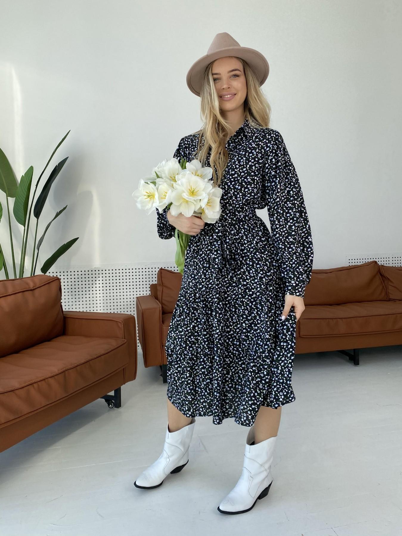 Лилия штапель принт платье 10879 АРТ. 47351 Цвет: Цветы мел черн/бел/гол - фото 8, интернет магазин tm-modus.ru