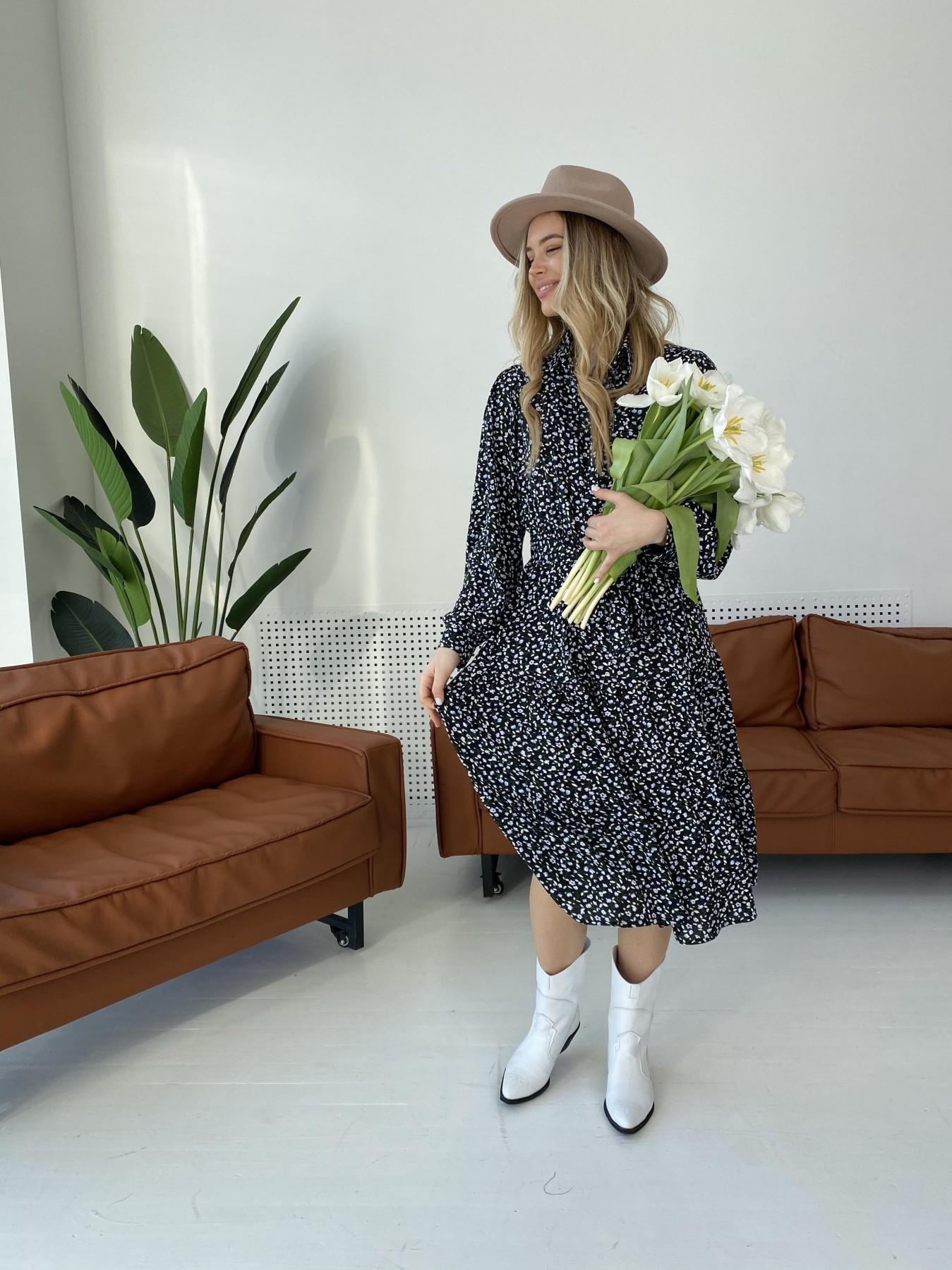 Лилия штапель принт платье 10879 АРТ. 47351 Цвет: Цветы мел черн/бел/гол - фото 9, интернет магазин tm-modus.ru