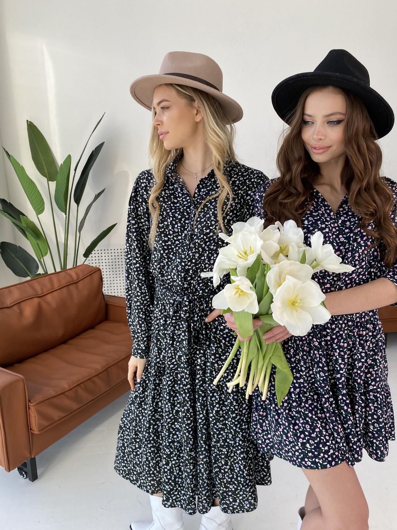 Нинель штапель принт платье 10877 АРТ. 47348 Цвет: Цветы мел т.син/бел/роз - фото 1, интернет магазин tm-modus.ru