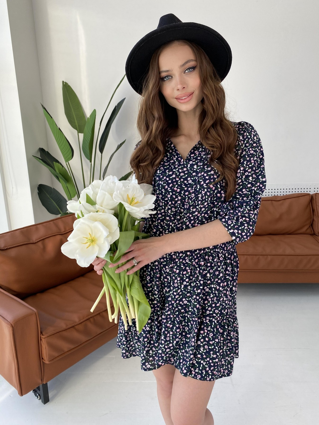 Нинель штапель принт платье 10877 АРТ. 47348 Цвет: Цветы мел т.син/бел/роз - фото 2, интернет магазин tm-modus.ru