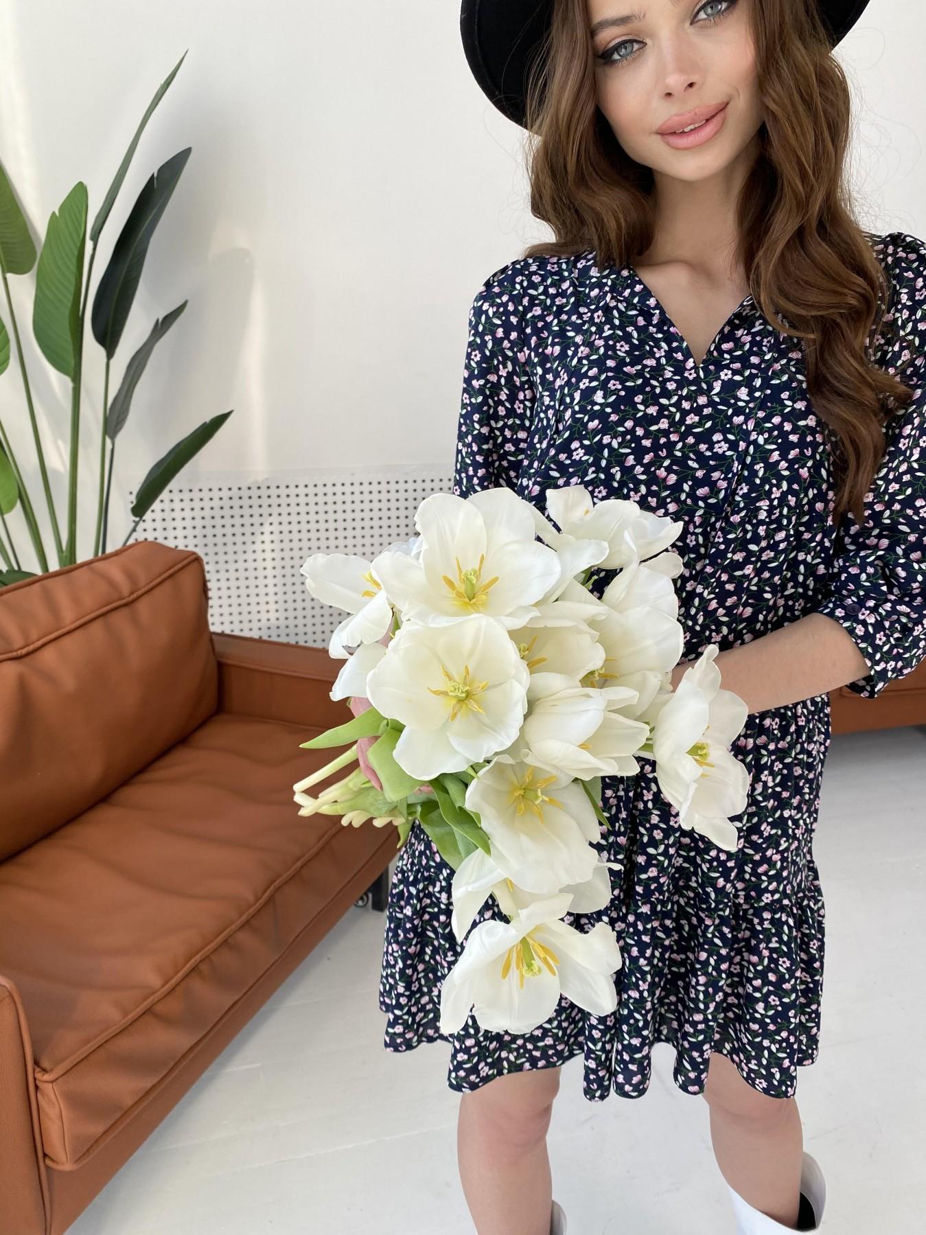 Нинель штапель принт платье 10877 АРТ. 47348 Цвет: Цветы мел т.син/бел/роз - фото 4, интернет магазин tm-modus.ru