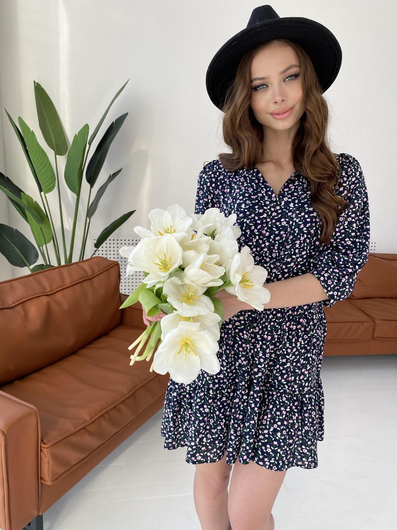 Нинель штапель принт платье 10877 АРТ. 47348 Цвет: Цветы мел т.син/бел/роз - фото 5, интернет магазин tm-modus.ru