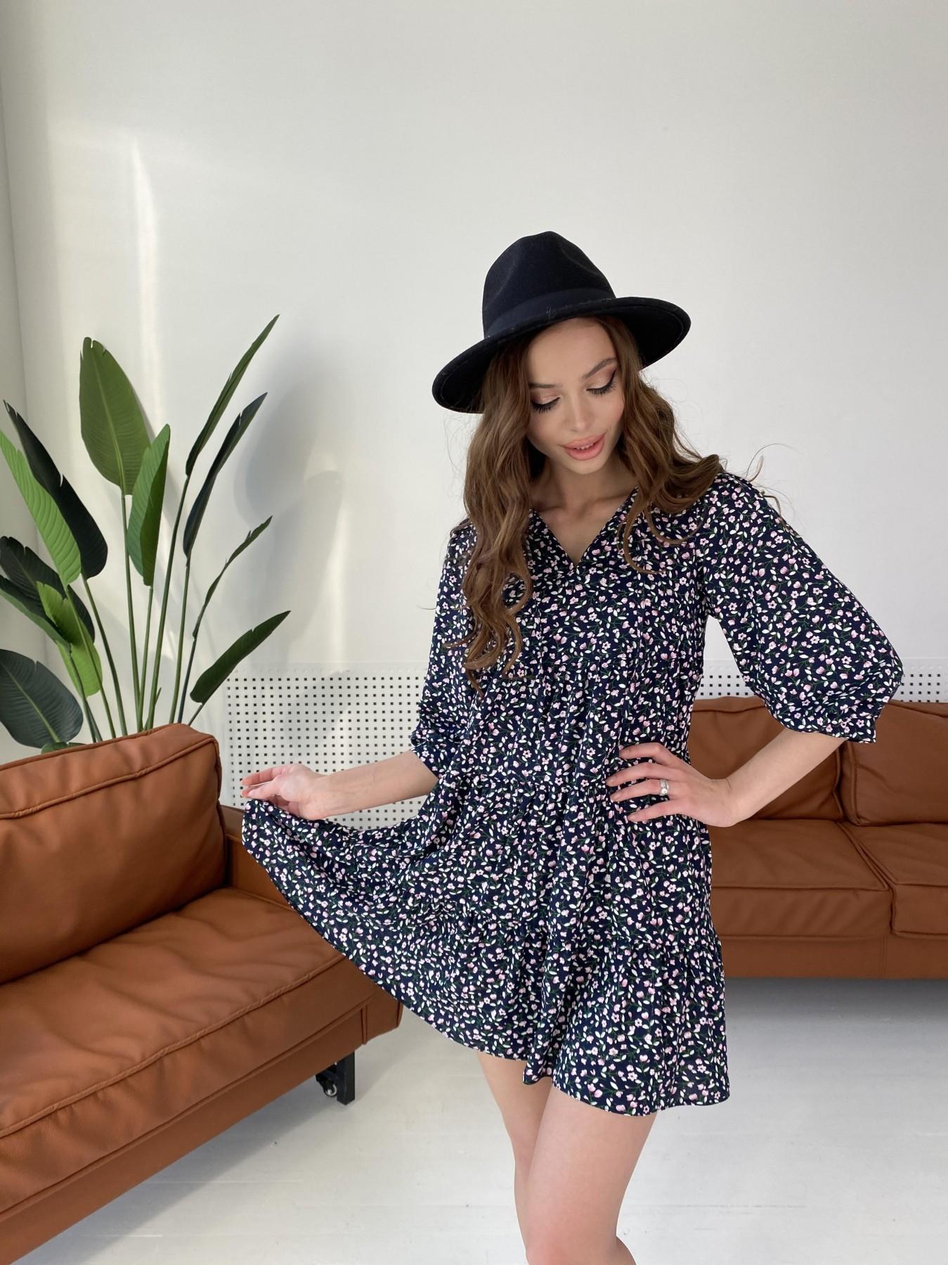Нинель штапель принт платье 10877 АРТ. 47348 Цвет: Цветы мел т.син/бел/роз - фото 7, интернет магазин tm-modus.ru