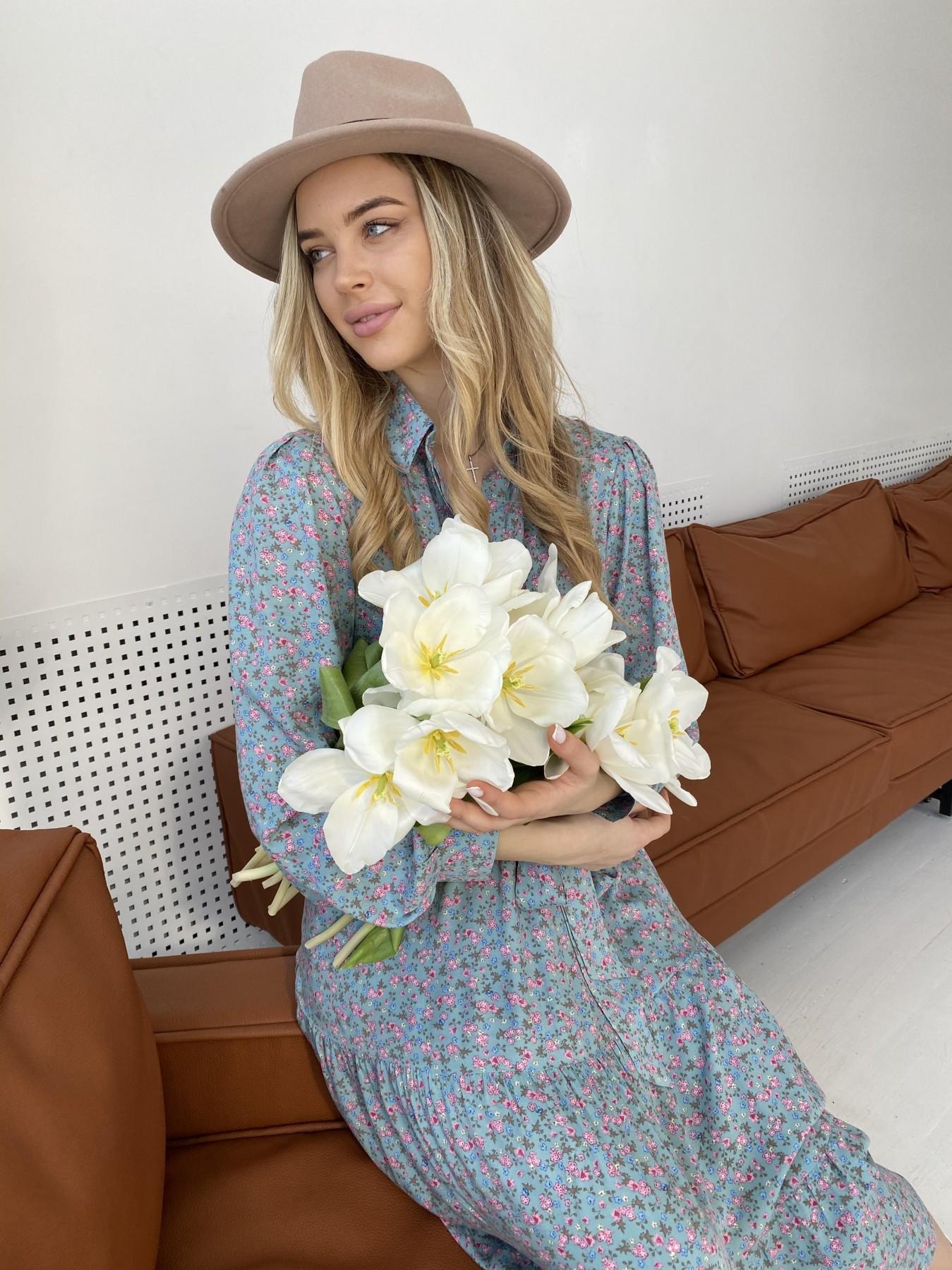 Лилия штапель принт платье 10879 АРТ. 47349 Цвет: Цветы мел олива/роз/гол - фото 1, интернет магазин tm-modus.ru