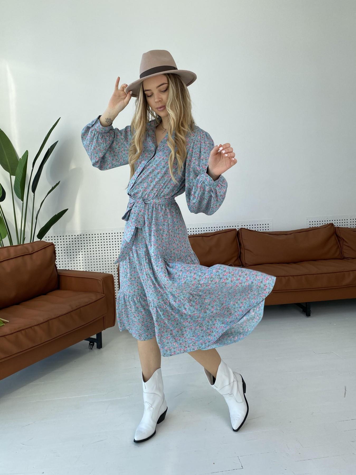 Лилия штапель принт платье 10879 АРТ. 47349 Цвет: Цветы мел олива/роз/гол - фото 3, интернет магазин tm-modus.ru