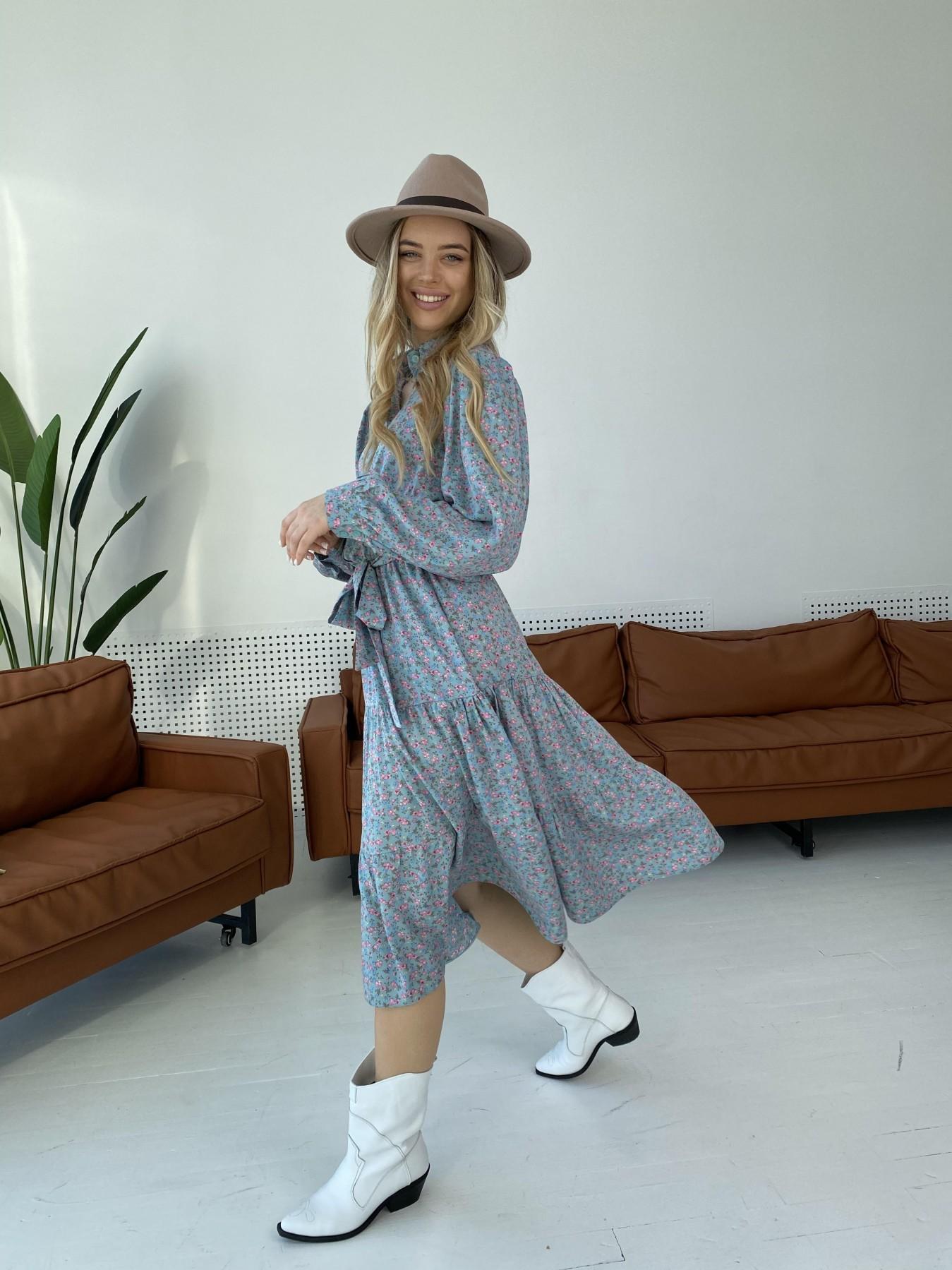 Лилия штапель принт платье 10879 АРТ. 47349 Цвет: Цветы мел олива/роз/гол - фото 4, интернет магазин tm-modus.ru
