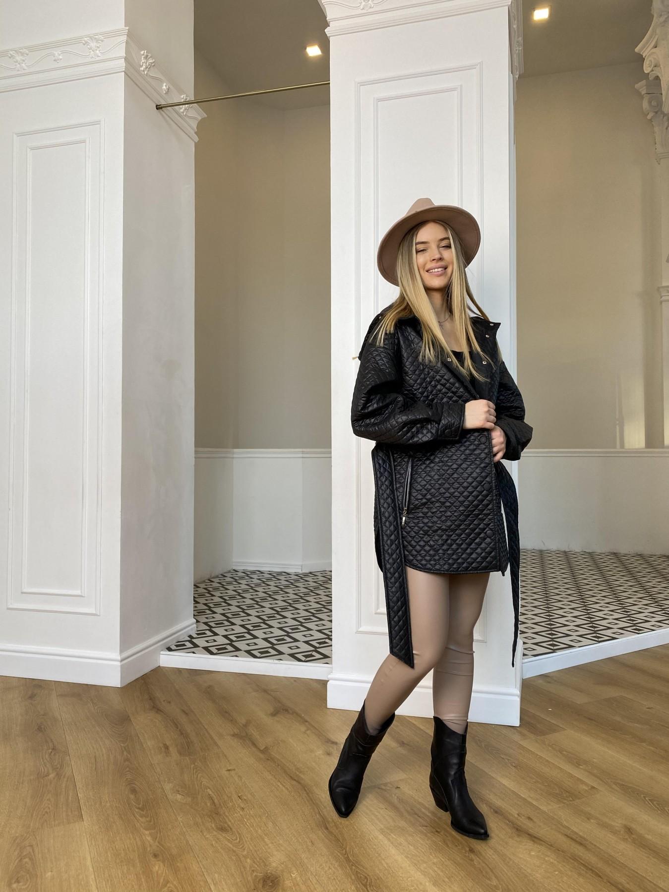 Пазл стеганая куртка из плащевой ткани  10933 АРТ. 47413 Цвет: Черный - фото 2, интернет магазин tm-modus.ru
