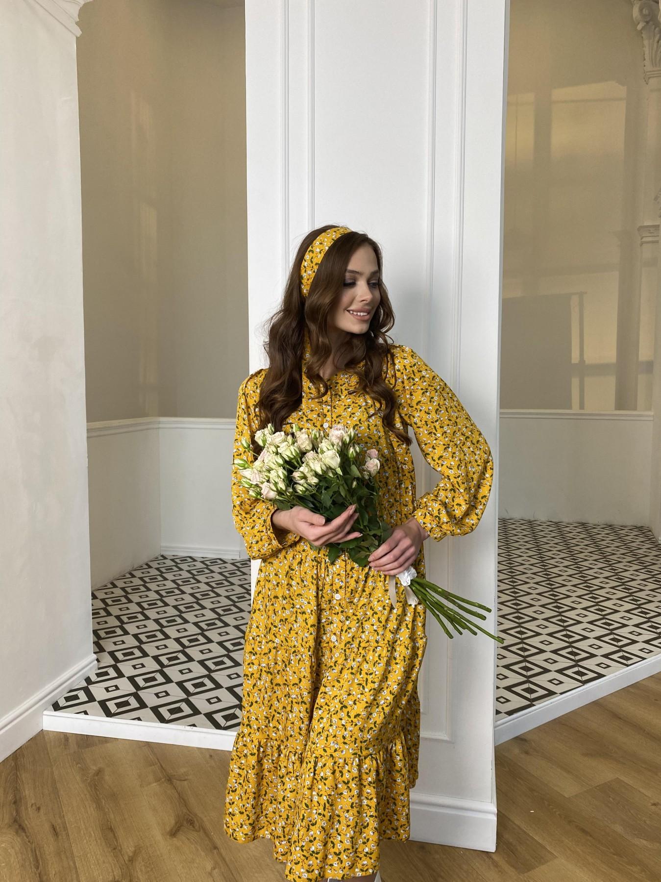 Берри миди штапель принт платье 10875 АРТ. 47344 Цвет: Цветы мел горч/бел/гол - фото 1, интернет магазин tm-modus.ru