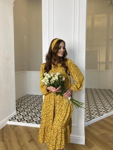 Купить Берри миди штапель принт платье 10875 оптом и в розницу