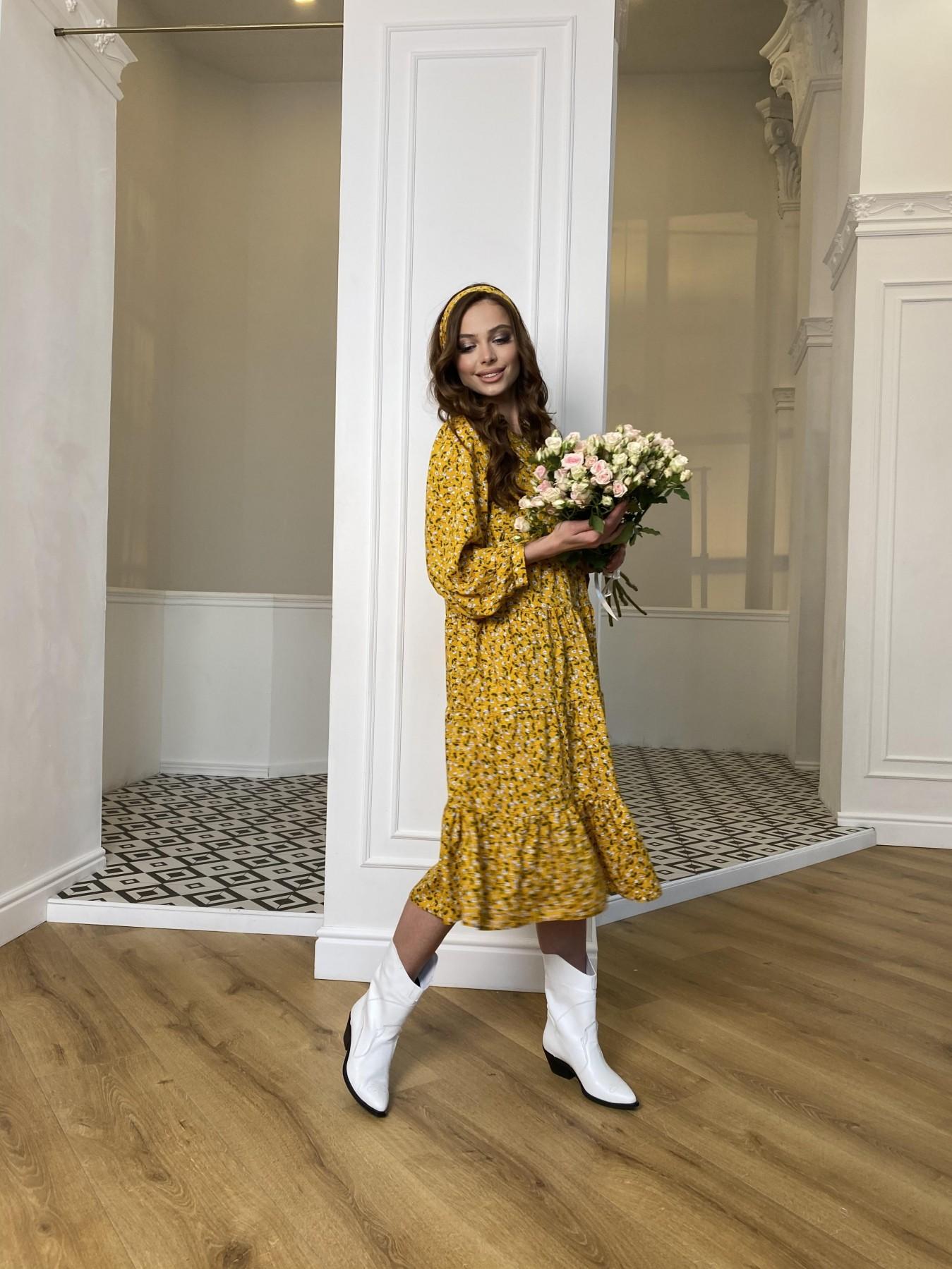 Берри миди штапель принт платье 10875 АРТ. 47344 Цвет: Цветы мел горч/бел/гол - фото 2, интернет магазин tm-modus.ru