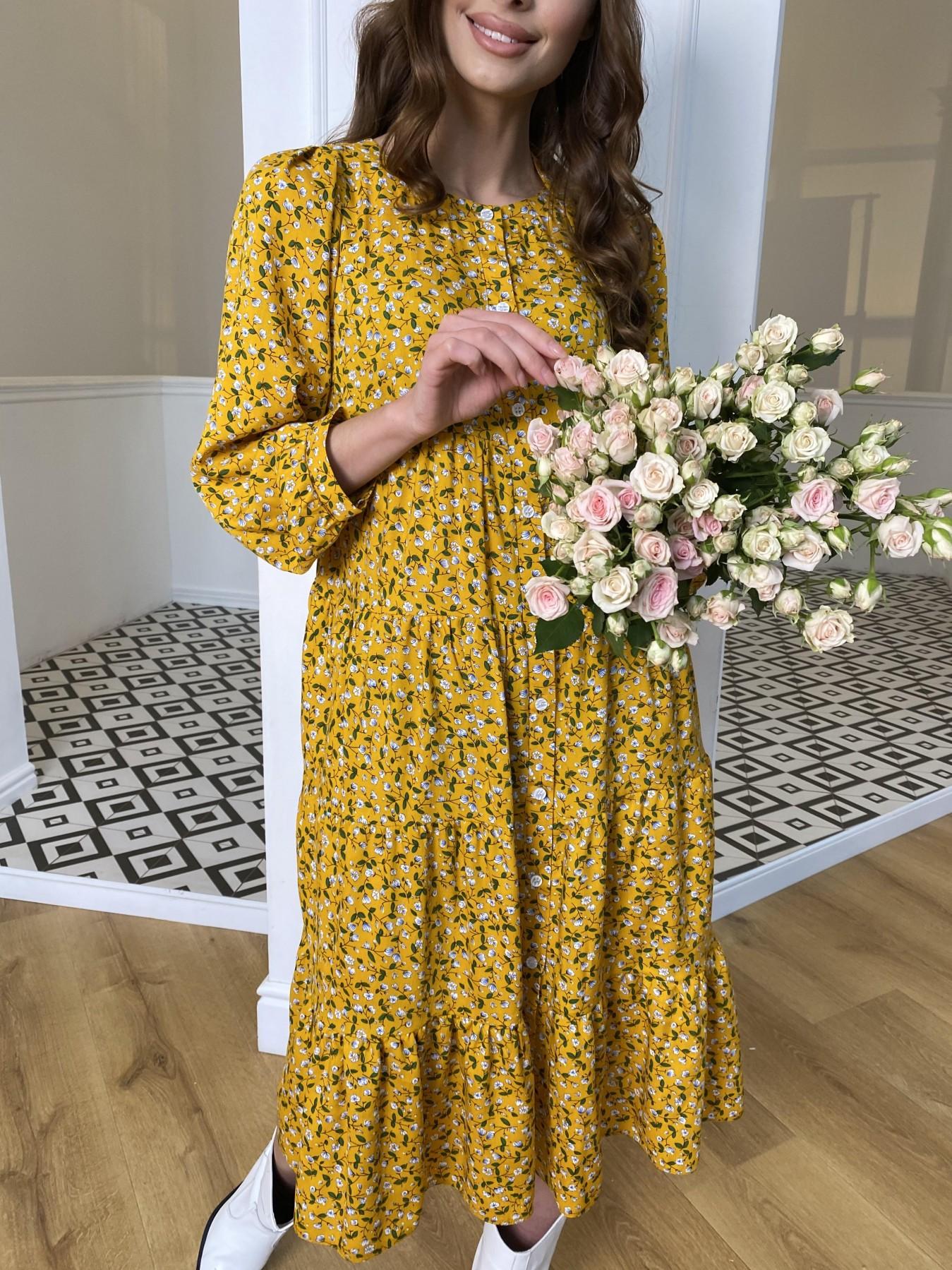 Берри миди штапель принт платье 10875 АРТ. 47344 Цвет: Цветы мел горч/бел/гол - фото 3, интернет магазин tm-modus.ru