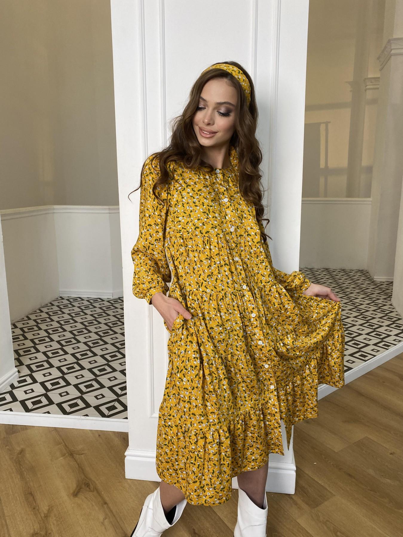 Берри миди штапель принт платье 10875 АРТ. 47344 Цвет: Цветы мел горч/бел/гол - фото 7, интернет магазин tm-modus.ru