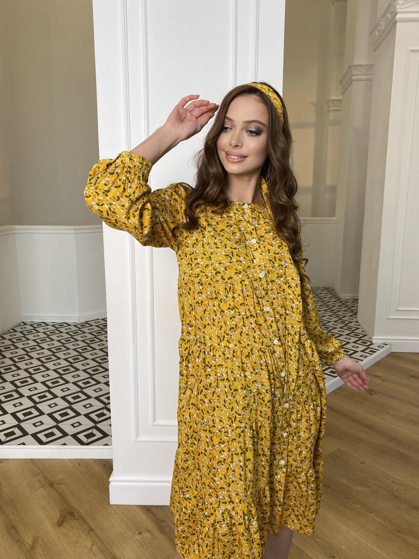 Берри миди штапель принт платье 10875 АРТ. 47344 Цвет: Цветы мел горч/бел/гол - фото 8, интернет магазин tm-modus.ru