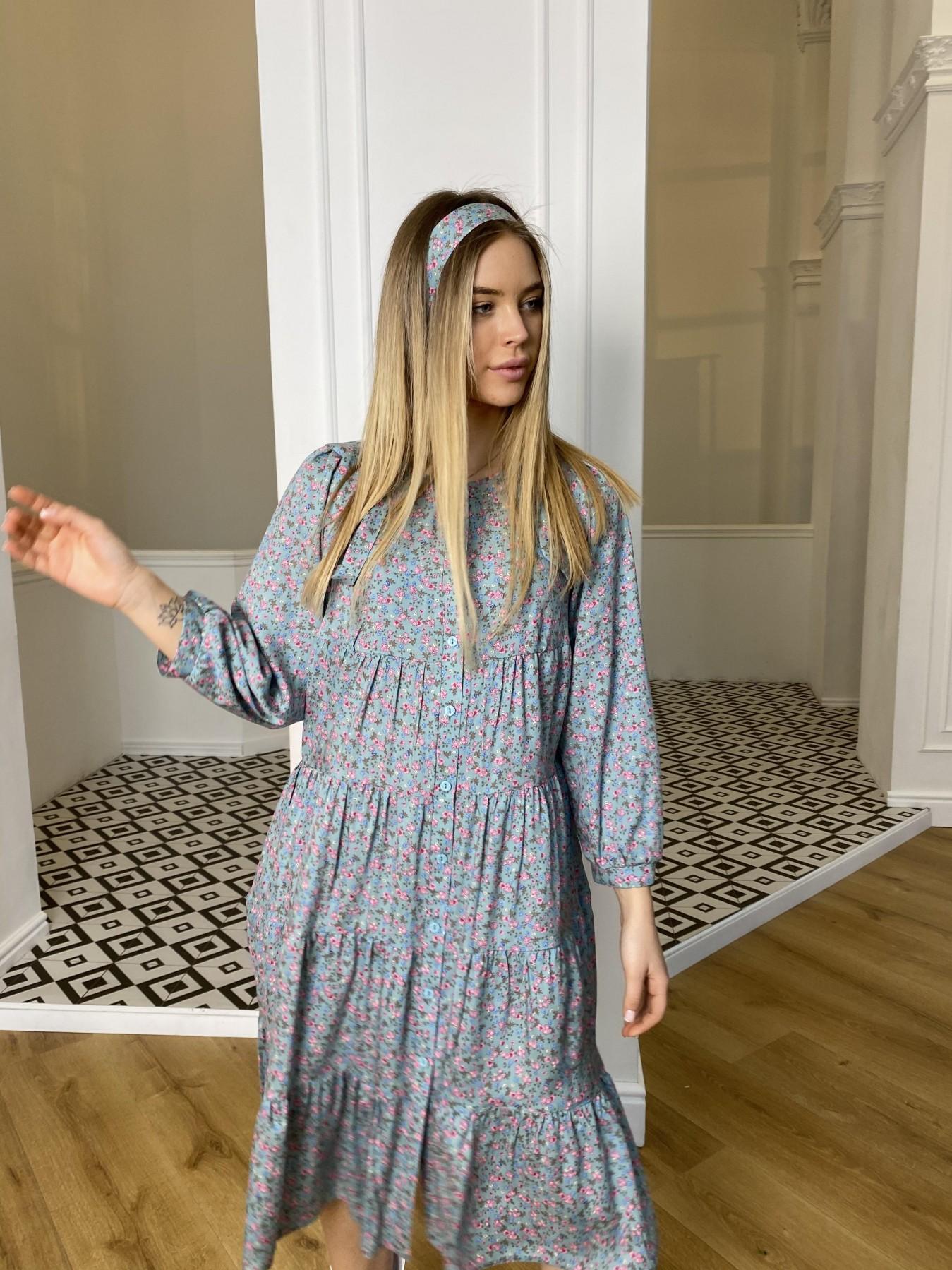 Берри миди штапель принт платье 10875