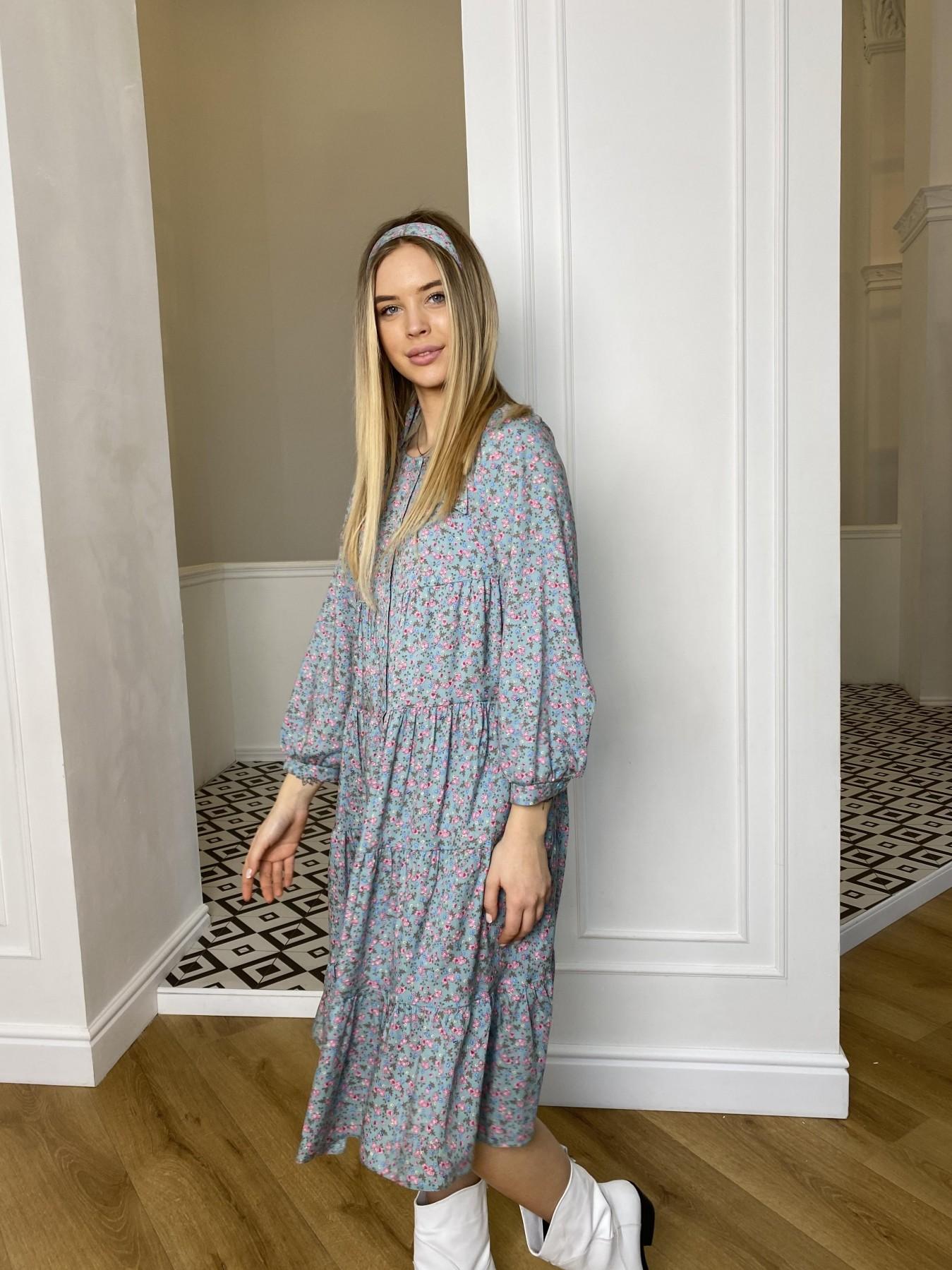 Берри миди платье штапель принт 10875 АРТ. 47343 Цвет: Цветы мел олива/роз/гол - фото 5, интернет магазин tm-modus.ru