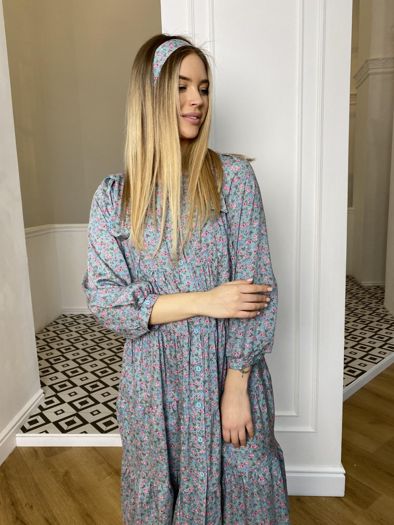 Берри миди платье штапель принт 10875 АРТ. 47343 Цвет: Цветы мел олива/роз/гол - фото 6, интернет магазин tm-modus.ru