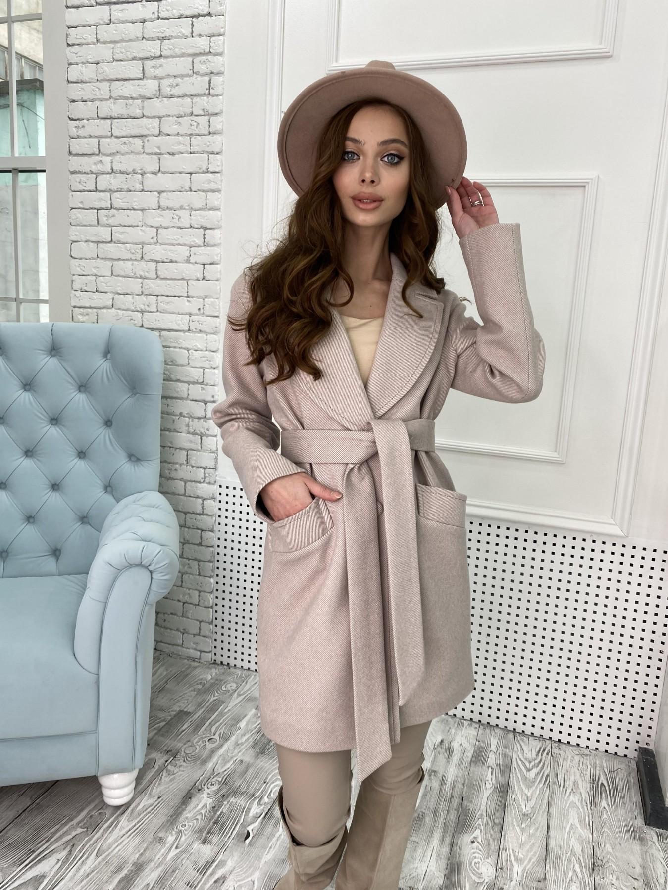 Вейсона Диагональ пальтовая ткань пальто 10753 АРТ. 47167 Цвет: Бежевый - фото 2, интернет магазин tm-modus.ru