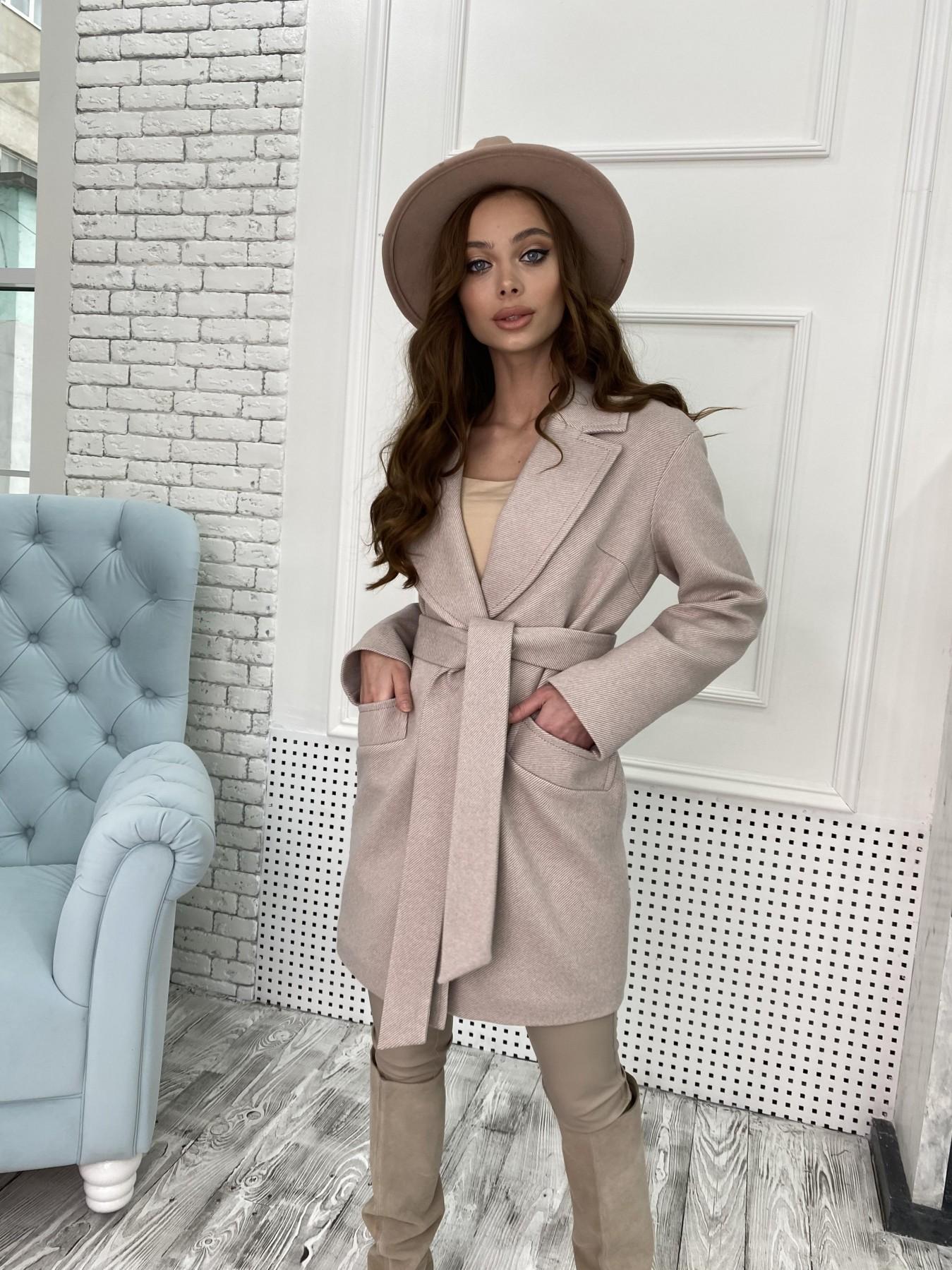 Вейсона Диагональ пальтовая ткань пальто 10753 АРТ. 47167 Цвет: Бежевый - фото 3, интернет магазин tm-modus.ru