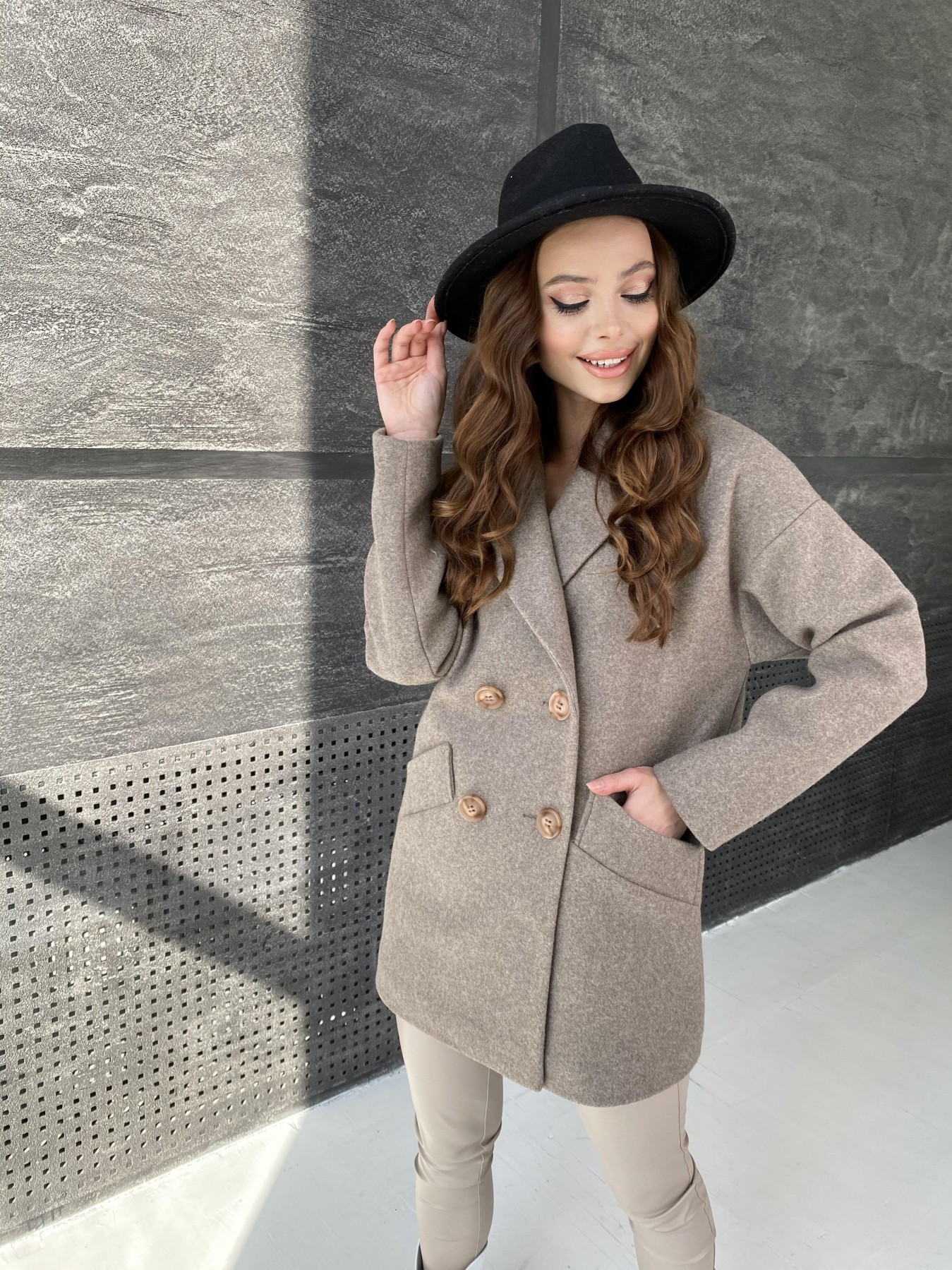 Бонд пальто  кашемировое меланж на трикотаже  10644 АРТ. 47178 Цвет: Бежевый 28 - фото 4, интернет магазин tm-modus.ru