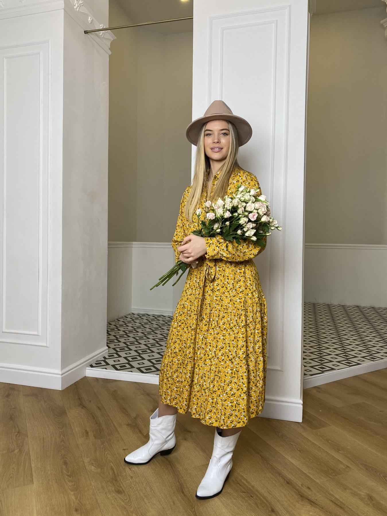 Лилия платье штапель в принт 10879 АРТ. 47350 Цвет: Цветы мел горч/бел/гол - фото 1, интернет магазин tm-modus.ru