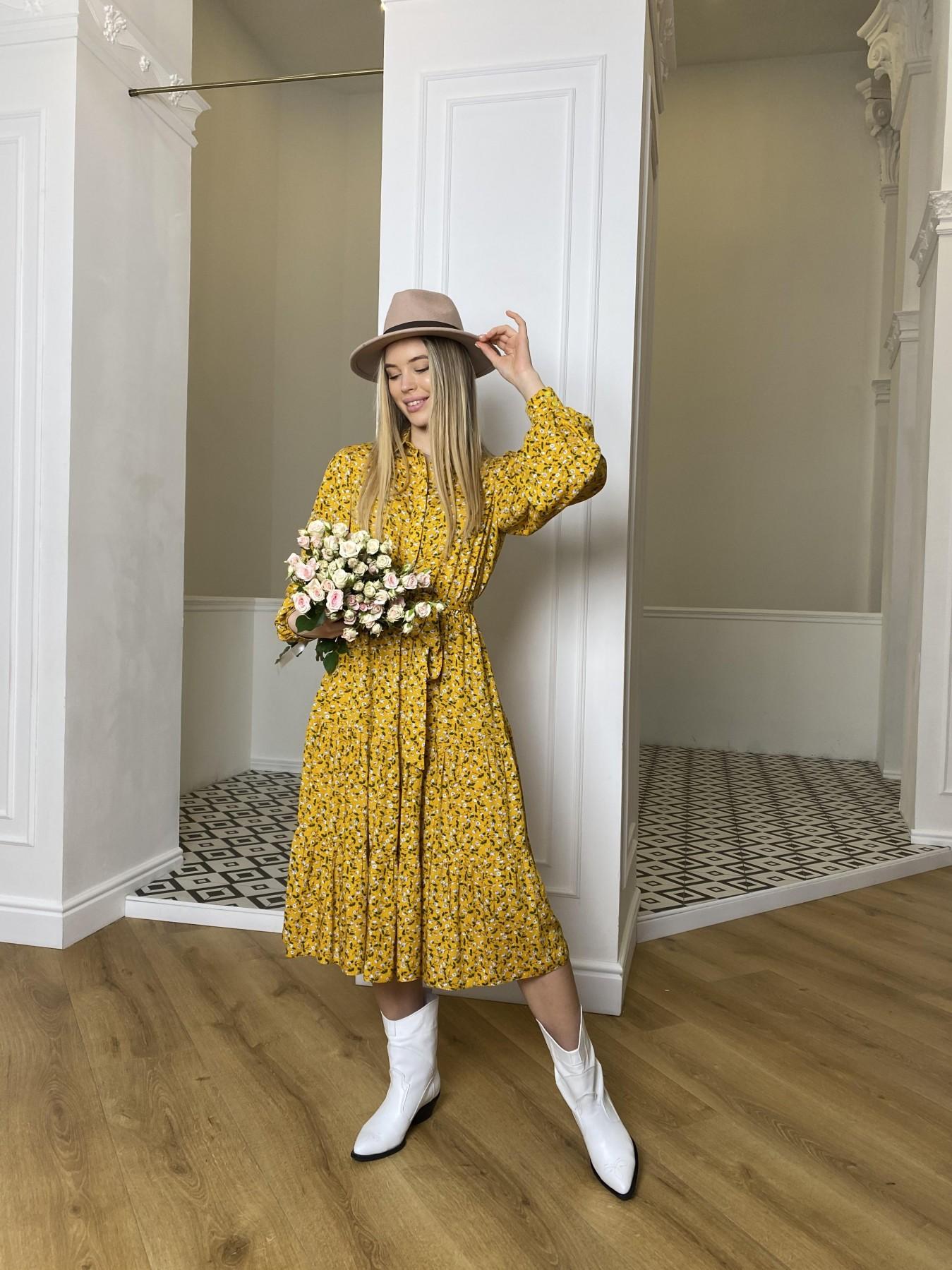 Лилия платье штапель в принт 10879 АРТ. 47350 Цвет: Цветы мел горч/бел/гол - фото 2, интернет магазин tm-modus.ru