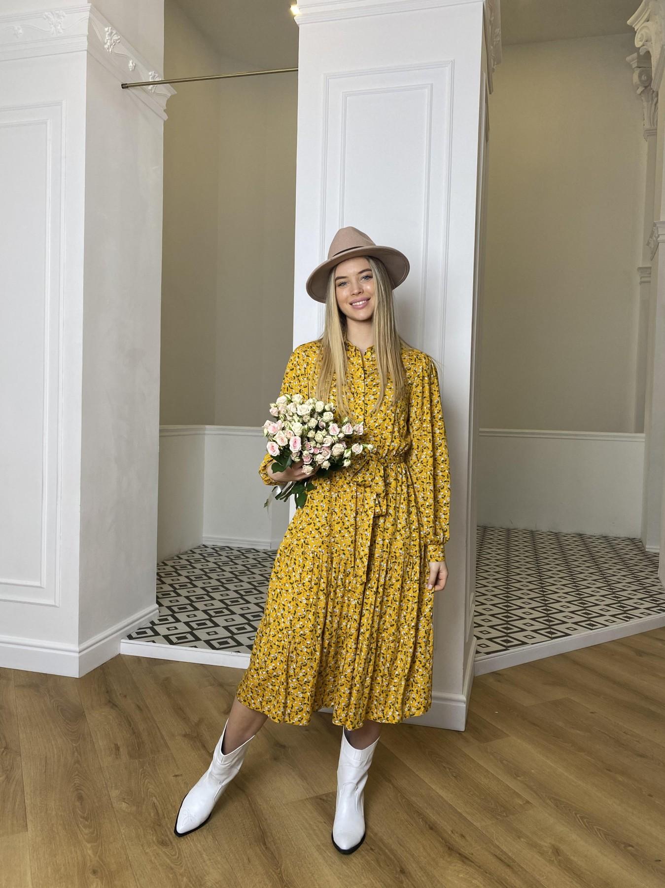 Лилия платье штапель в принт 10879 АРТ. 47350 Цвет: Цветы мел горч/бел/гол - фото 3, интернет магазин tm-modus.ru