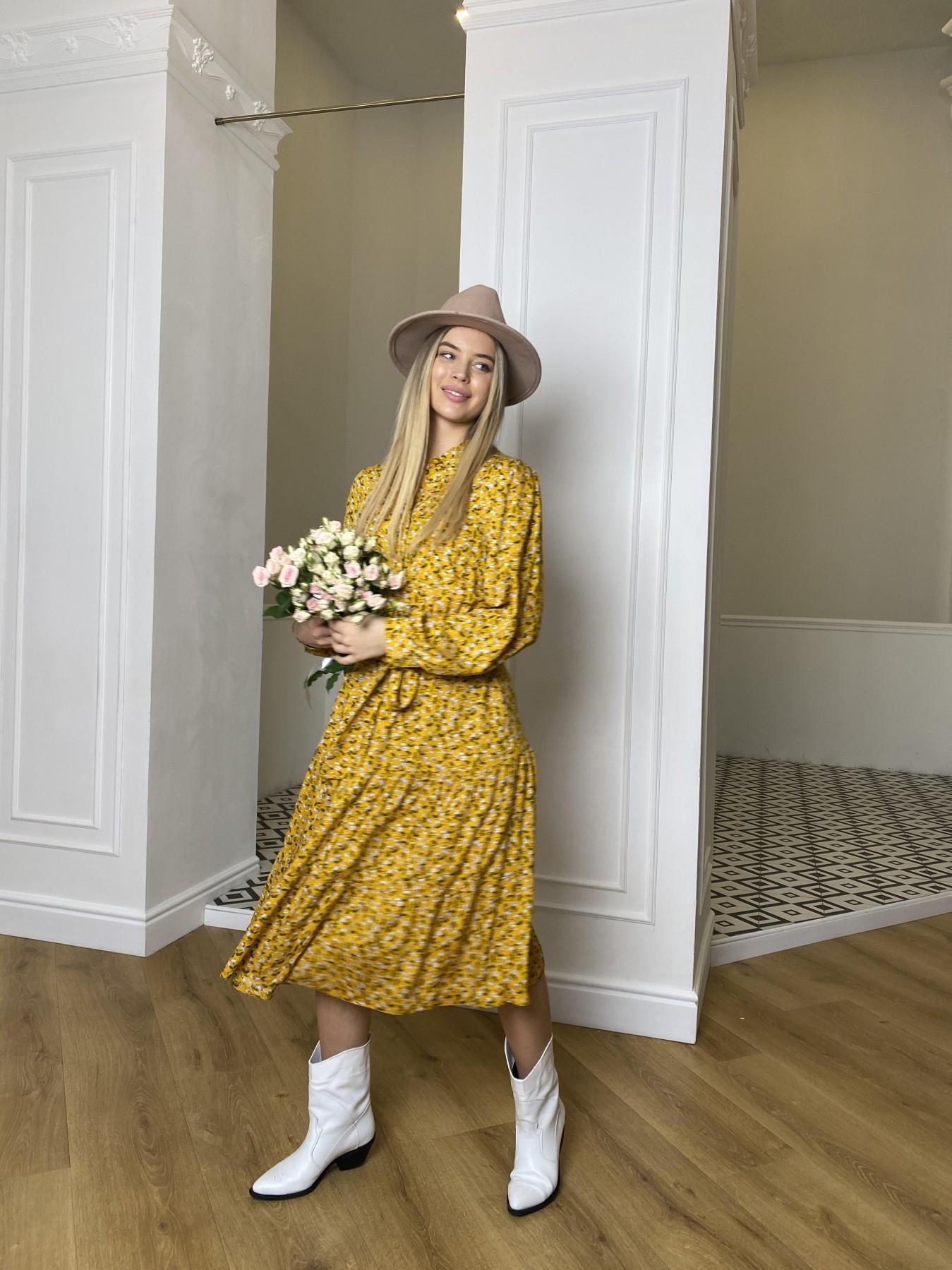 Лилия платье штапель в принт 10879 АРТ. 47350 Цвет: Цветы мел горч/бел/гол - фото 4, интернет магазин tm-modus.ru