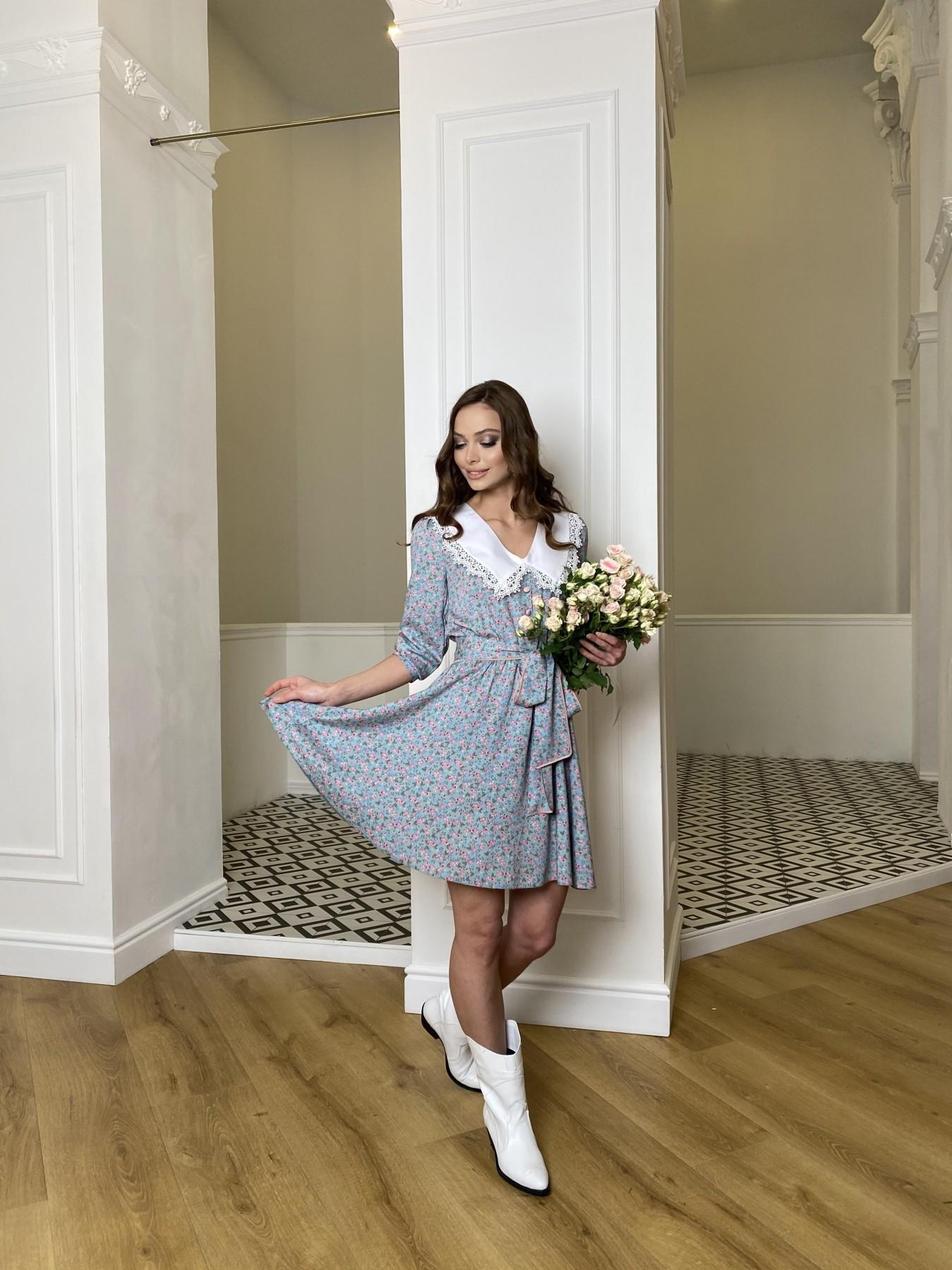 Джейн платье  костюмка штапель принт 10881 АРТ. 47419 Цвет: Цветы мел олива/роз/гол - фото 2, интернет магазин tm-modus.ru