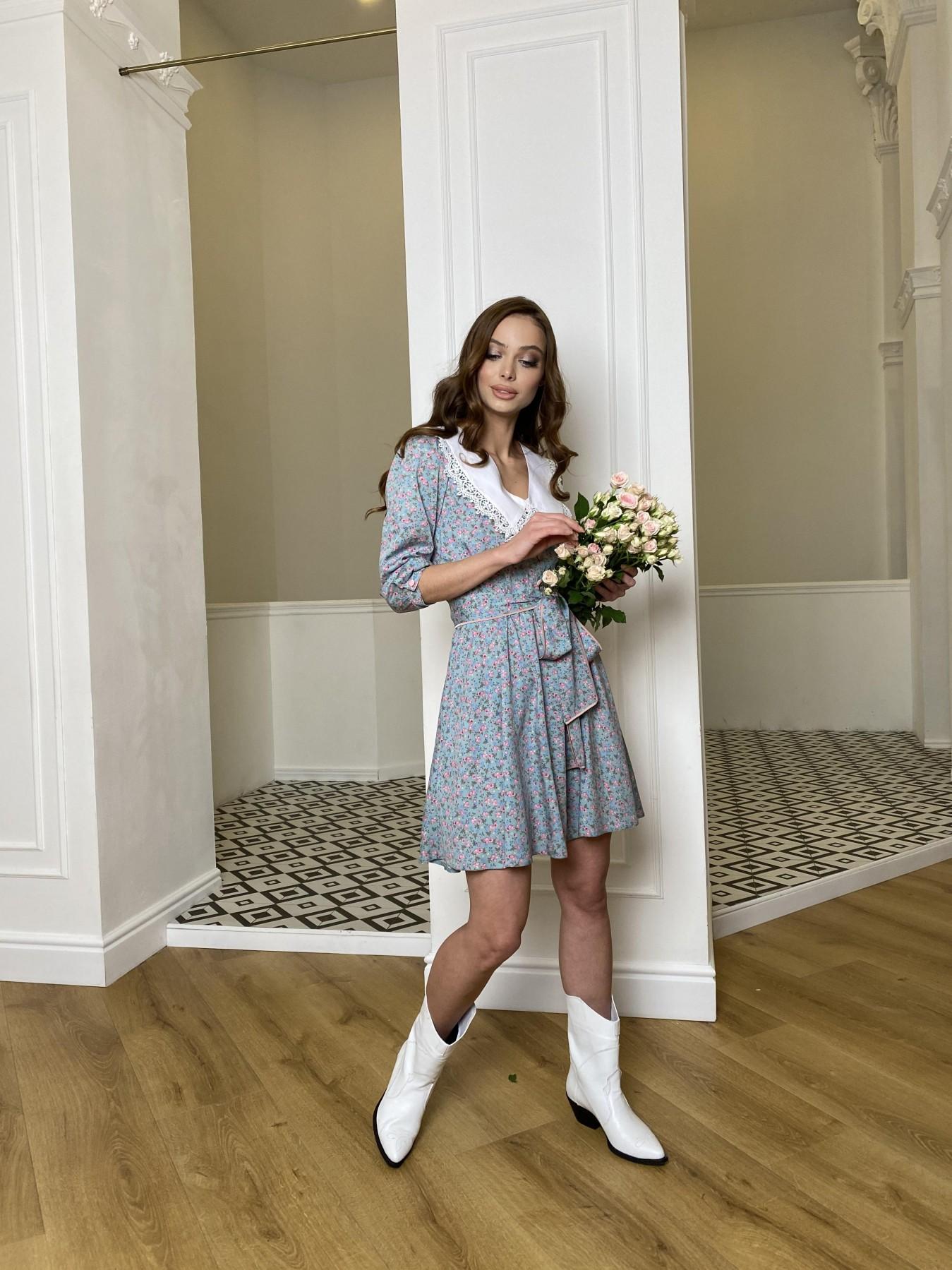 Джейн платье  костюмка штапель принт 10881 АРТ. 47419 Цвет: Цветы мел олива/роз/гол - фото 3, интернет магазин tm-modus.ru