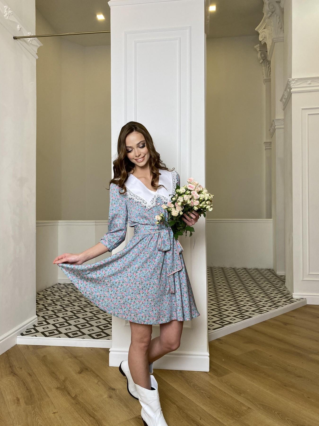 Джейн платье  костюмка штапель принт 10881 АРТ. 47419 Цвет: Цветы мел олива/роз/гол - фото 5, интернет магазин tm-modus.ru