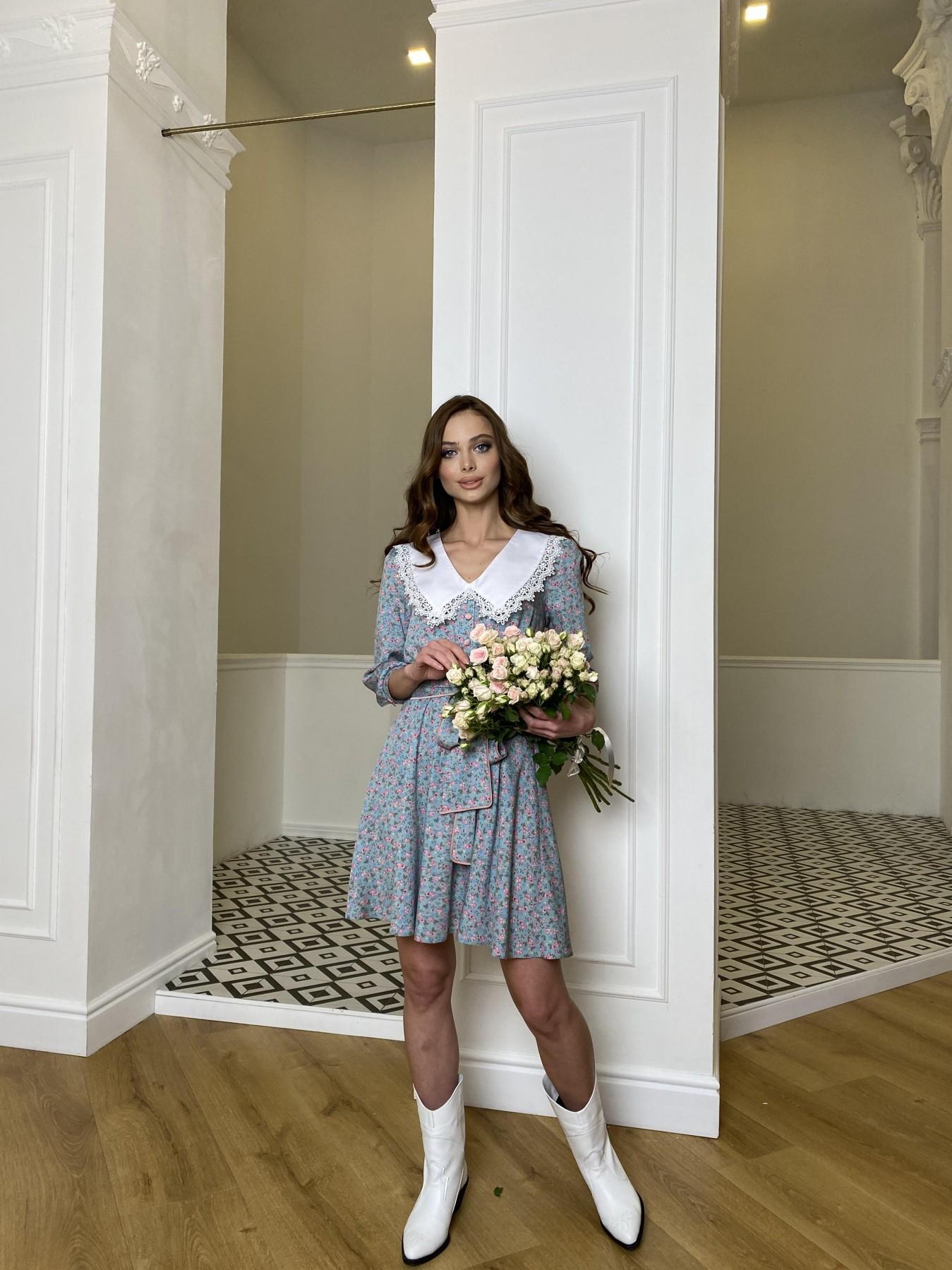 Джейн платье  костюмка штапель принт 10881 АРТ. 47419 Цвет: Цветы мел олива/роз/гол - фото 6, интернет магазин tm-modus.ru