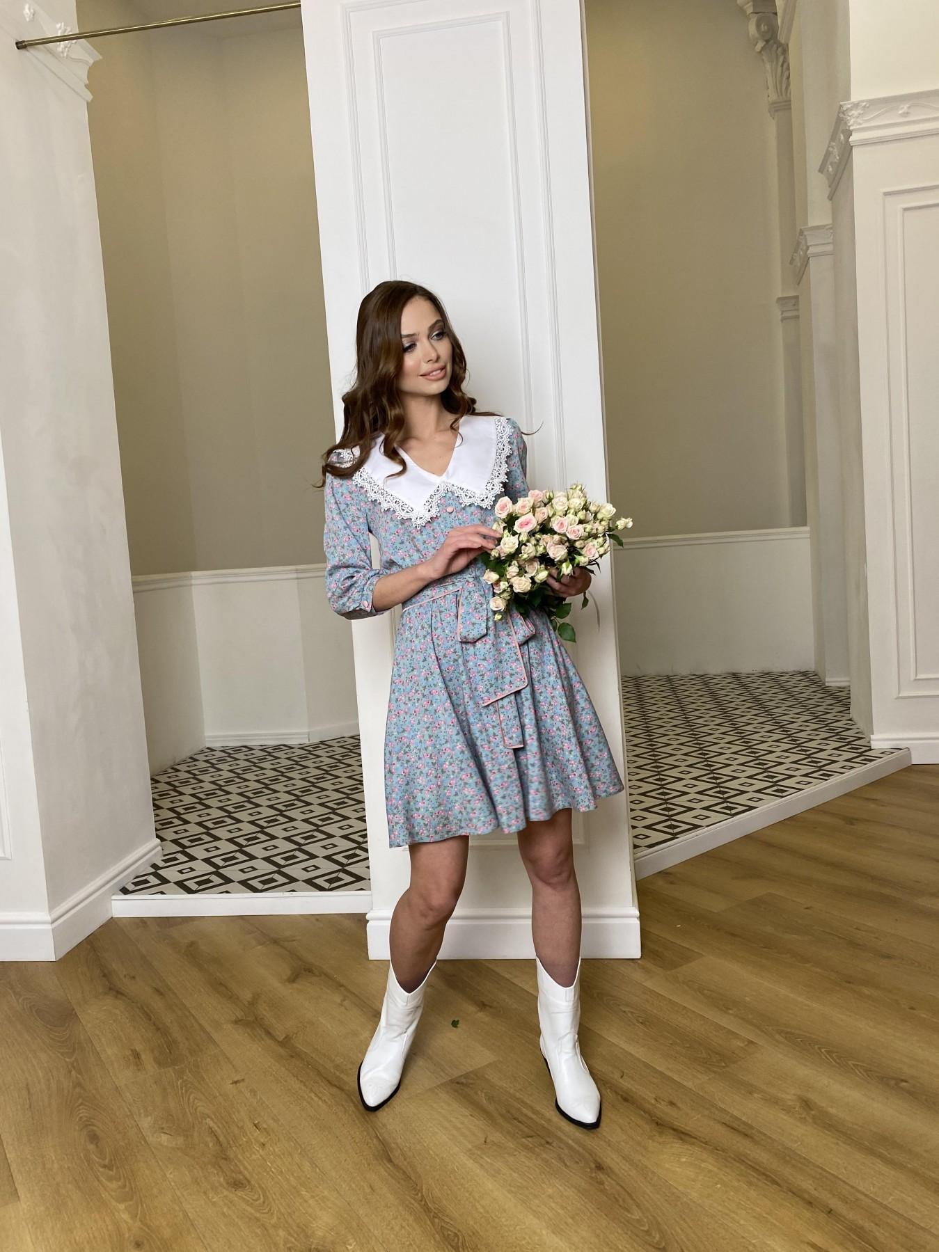 Джейн платье  костюмка штапель принт 10881 АРТ. 47419 Цвет: Цветы мел олива/роз/гол - фото 7, интернет магазин tm-modus.ru