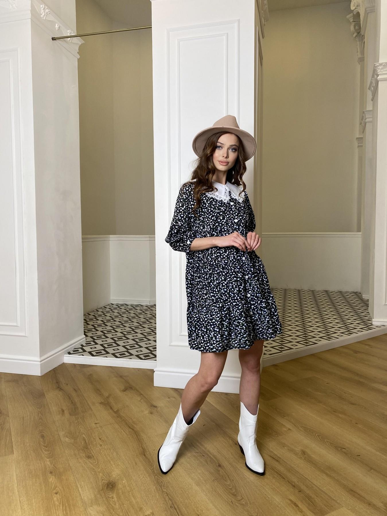 Берри штапель принт платье 10872 АРТ. 47342 Цвет: Цветы мел черн/бел/гол - фото 3, интернет магазин tm-modus.ru