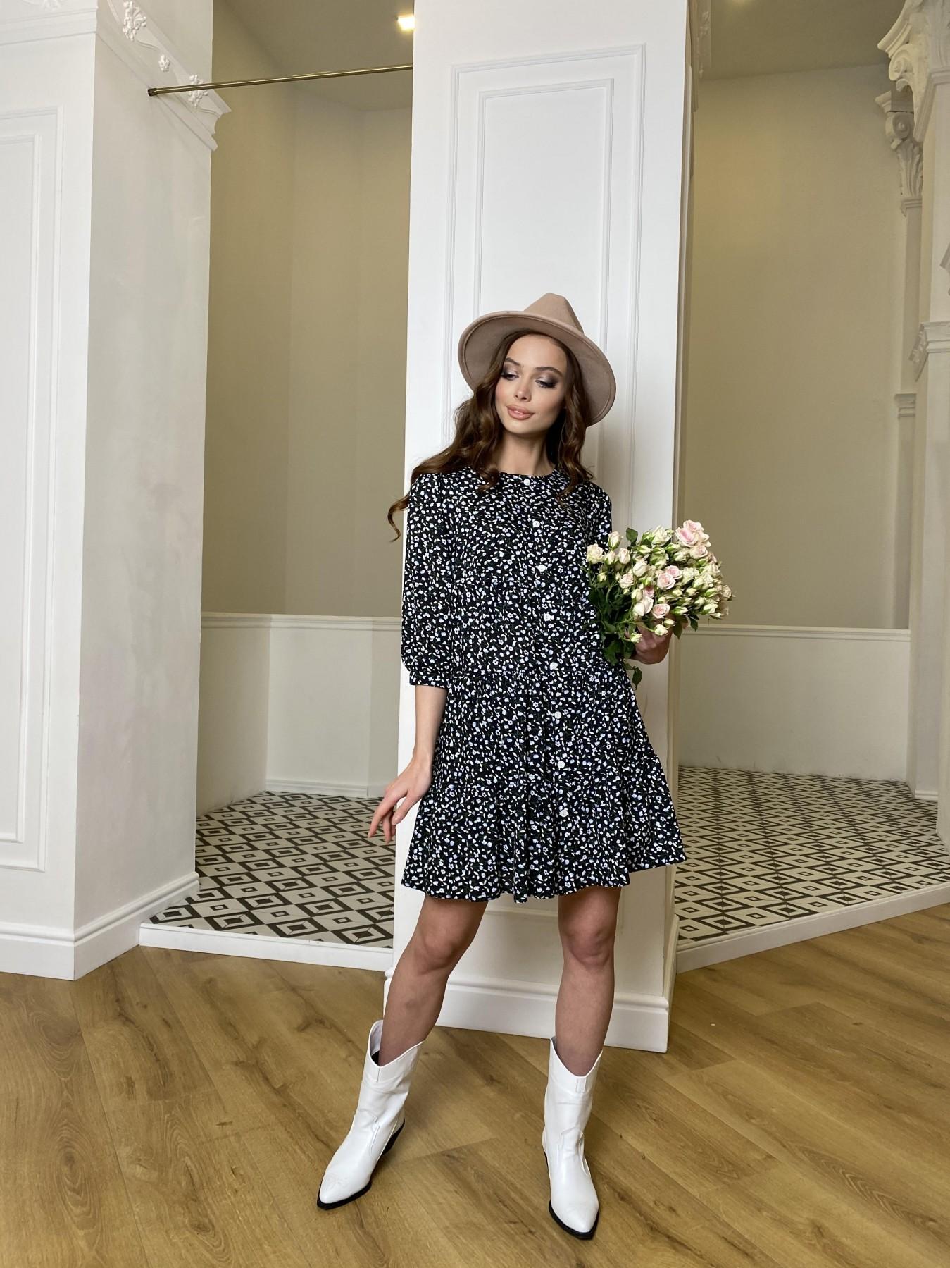 Берри штапель принт платье 10872 АРТ. 47342 Цвет: Цветы мел черн/бел/гол - фото 4, интернет магазин tm-modus.ru