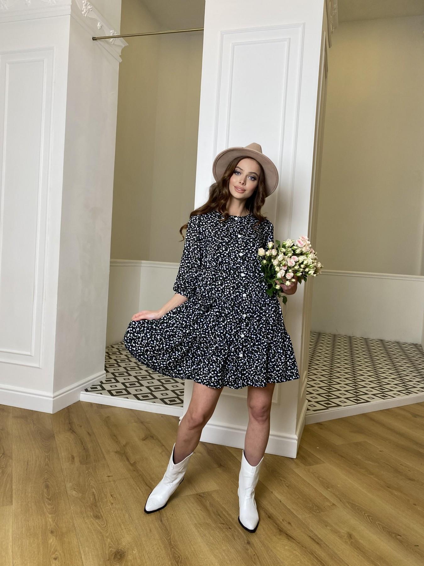 Берри штапель принт платье 10872 АРТ. 47342 Цвет: Цветы мел черн/бел/гол - фото 5, интернет магазин tm-modus.ru