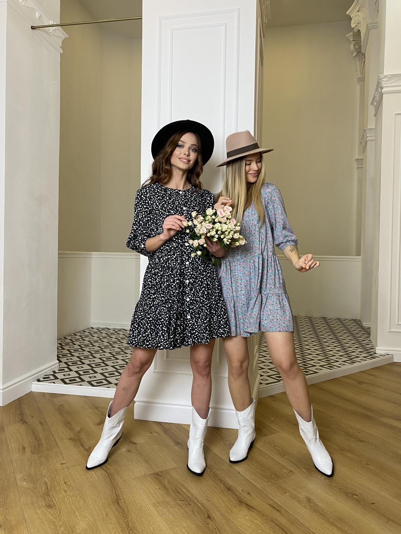 Берри штапель принт платье 10872 АРТ. 47342 Цвет: Цветы мел черн/бел/гол - фото 6, интернет магазин tm-modus.ru